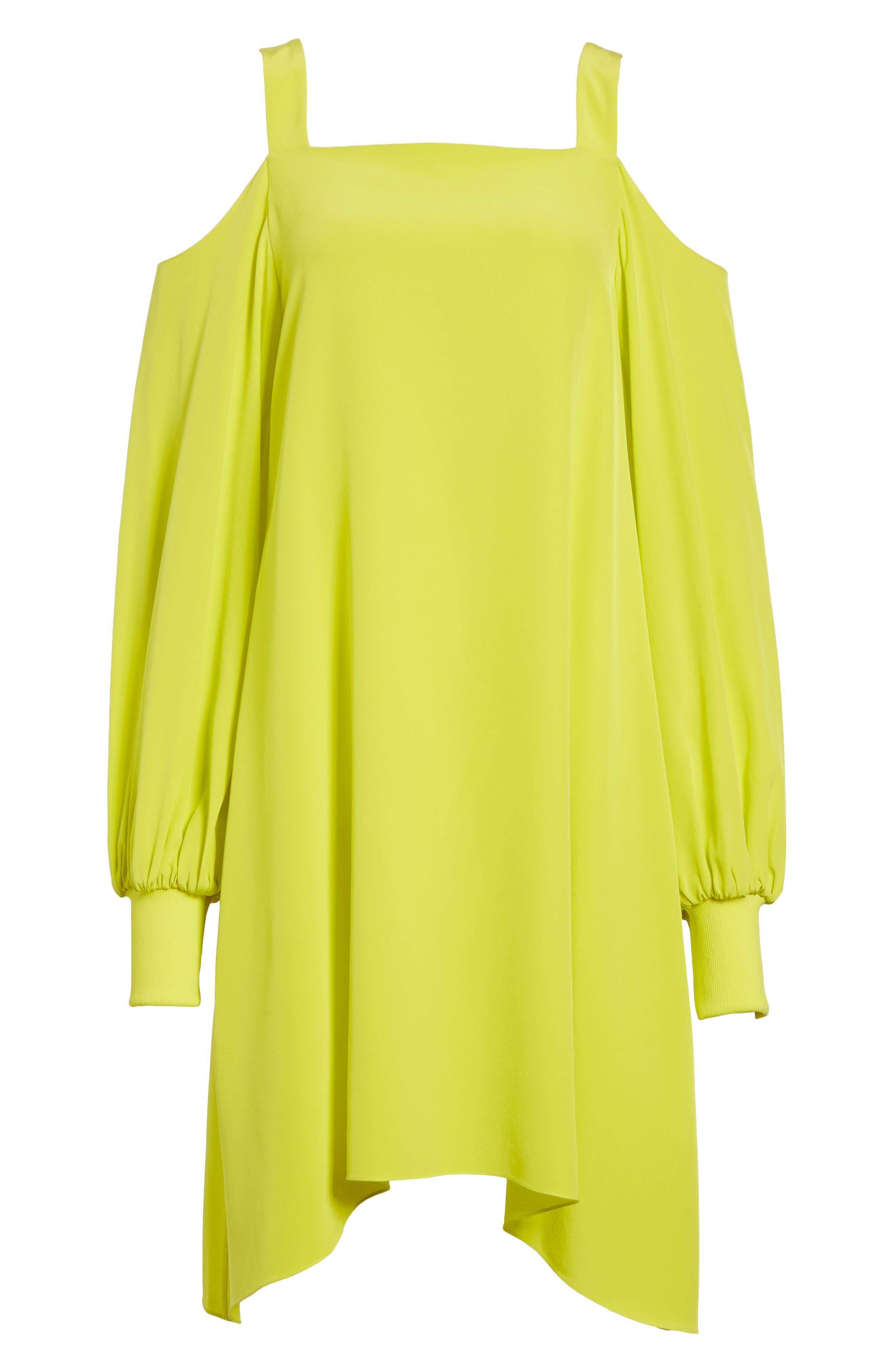 Strappy Back Silk Dress,                             Alternate thumbnail 6, color,                             Vibrant Yellow