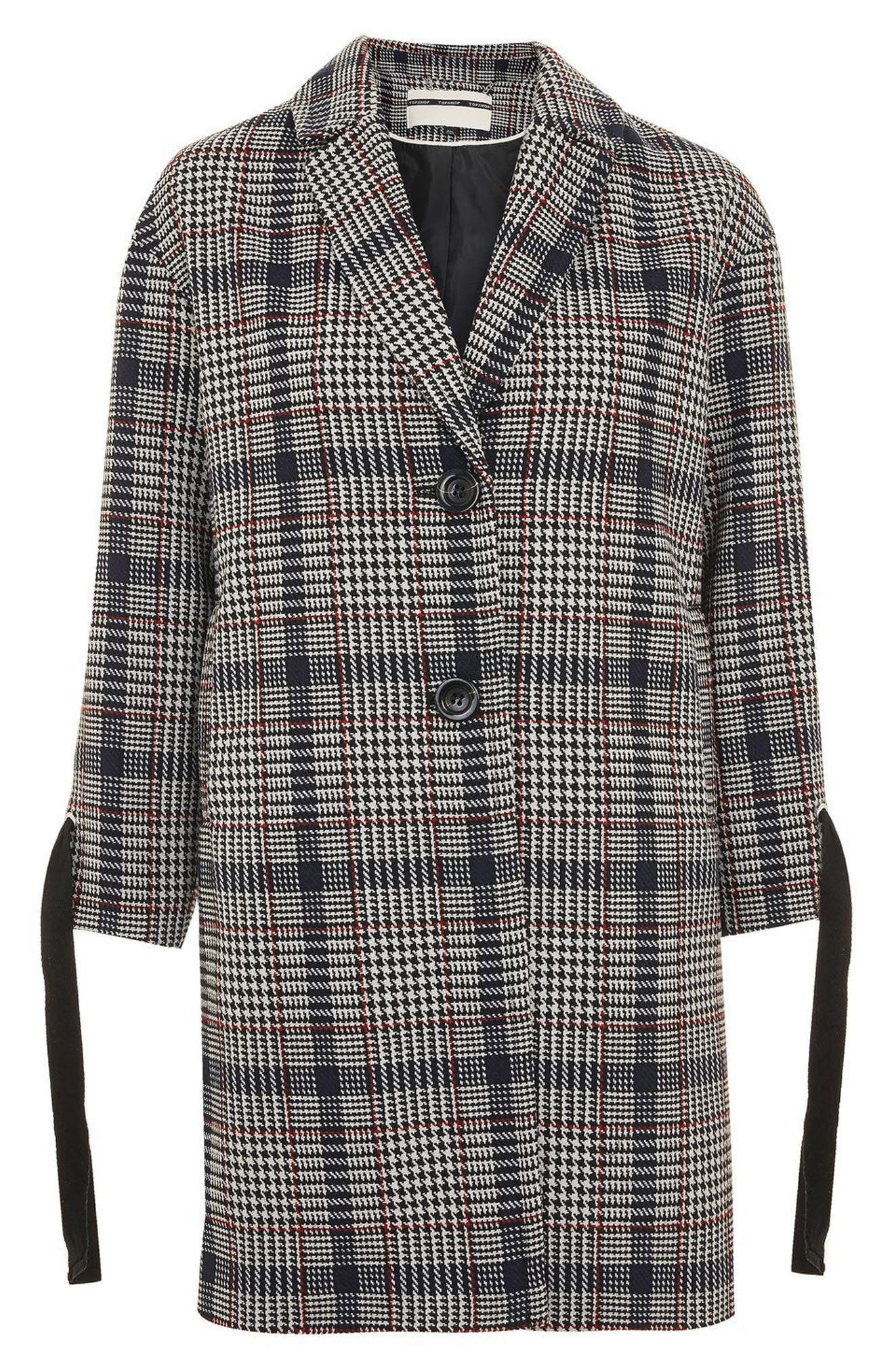 Lace-Up Sleeve Check Coat,                             Alternate thumbnail 4, color,                             Navy Blue Multi