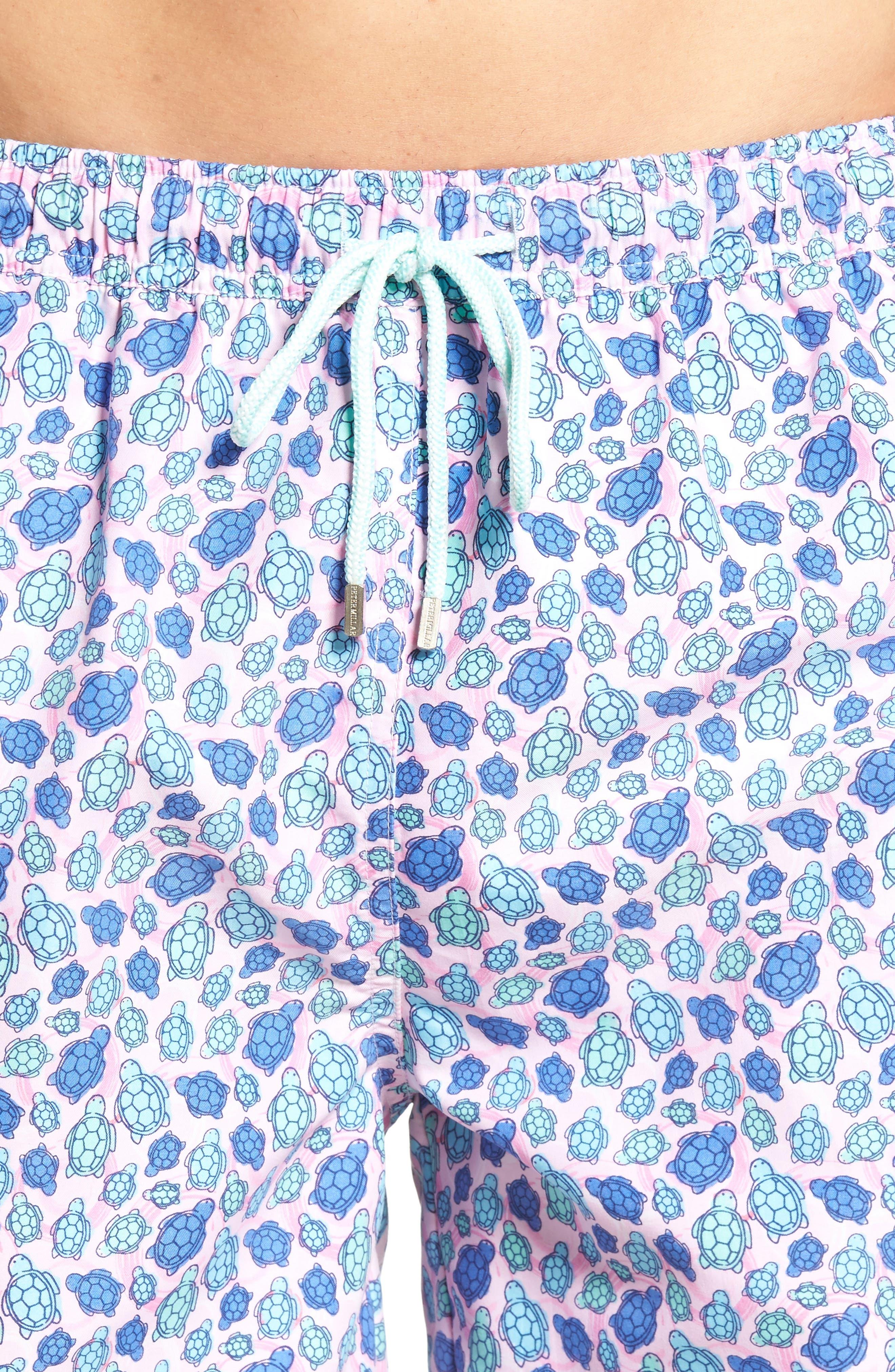 Shelly Turtle Print Swim Shorts,                             Alternate thumbnail 4, color,                             Dusk Pink