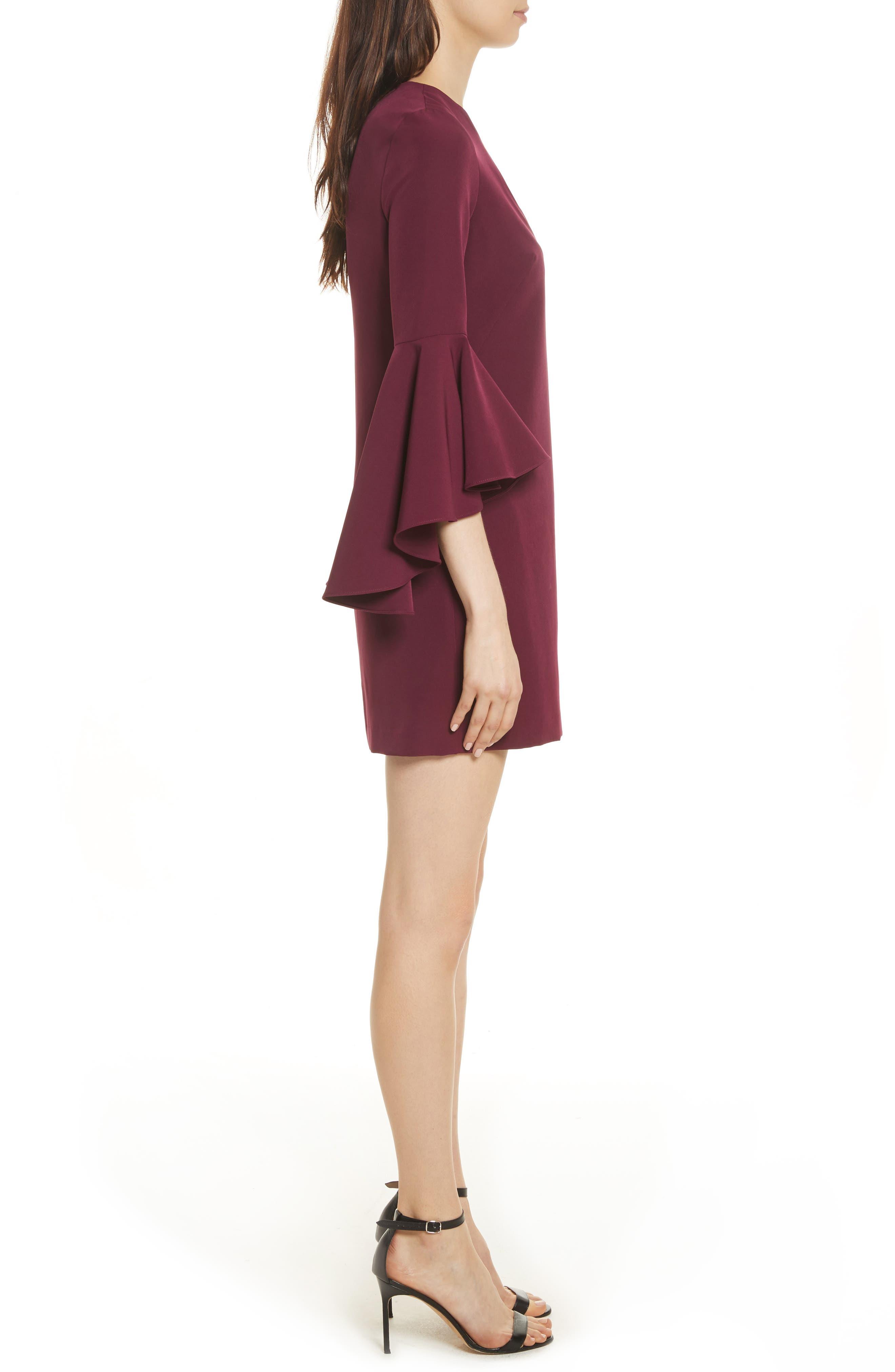Nicole Bell Sleeve Dress,                             Alternate thumbnail 3, color,                             Burgundy