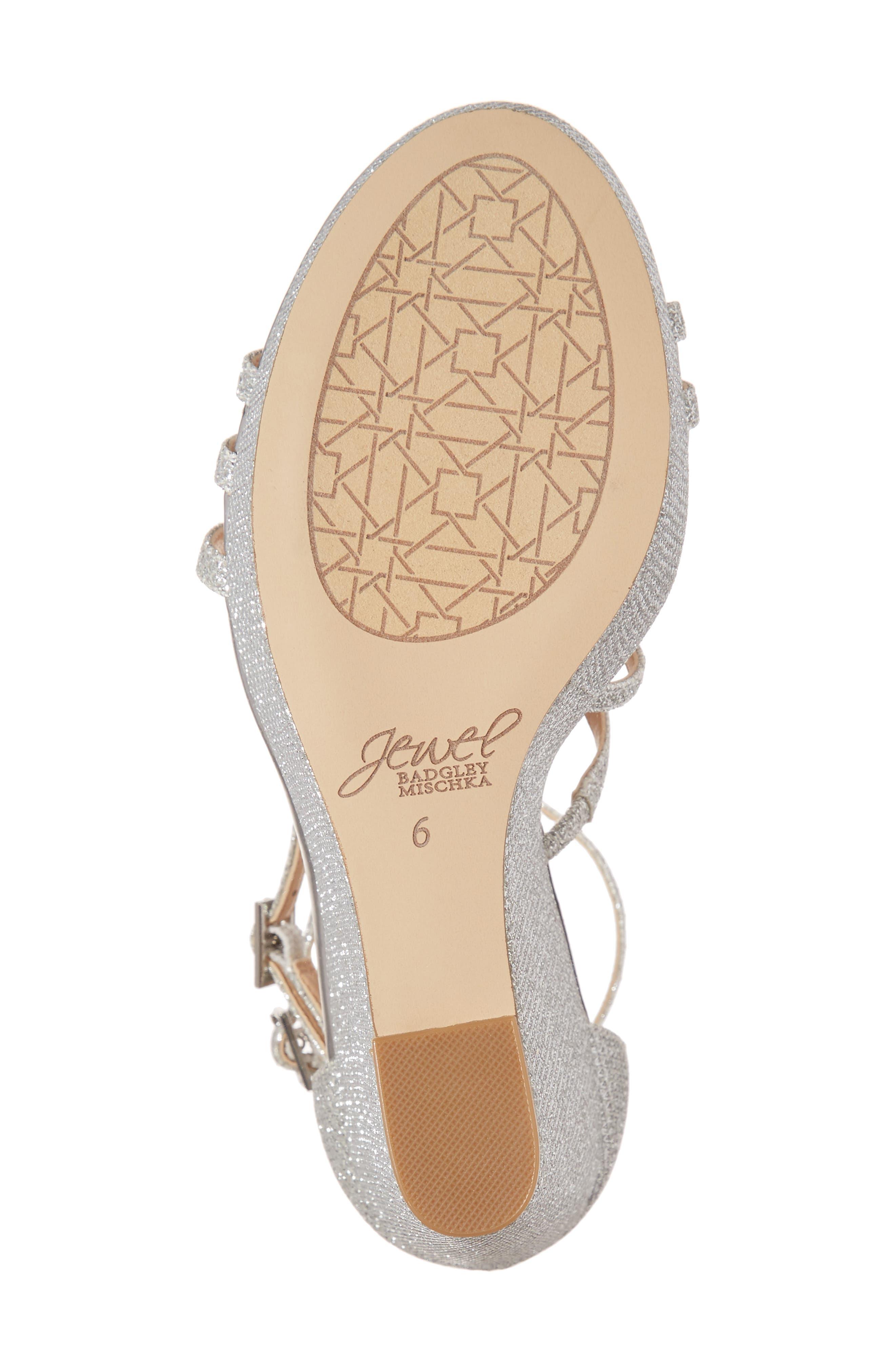 Tatsu Wedge Sandal,                             Alternate thumbnail 6, color,                             Silver Glitter