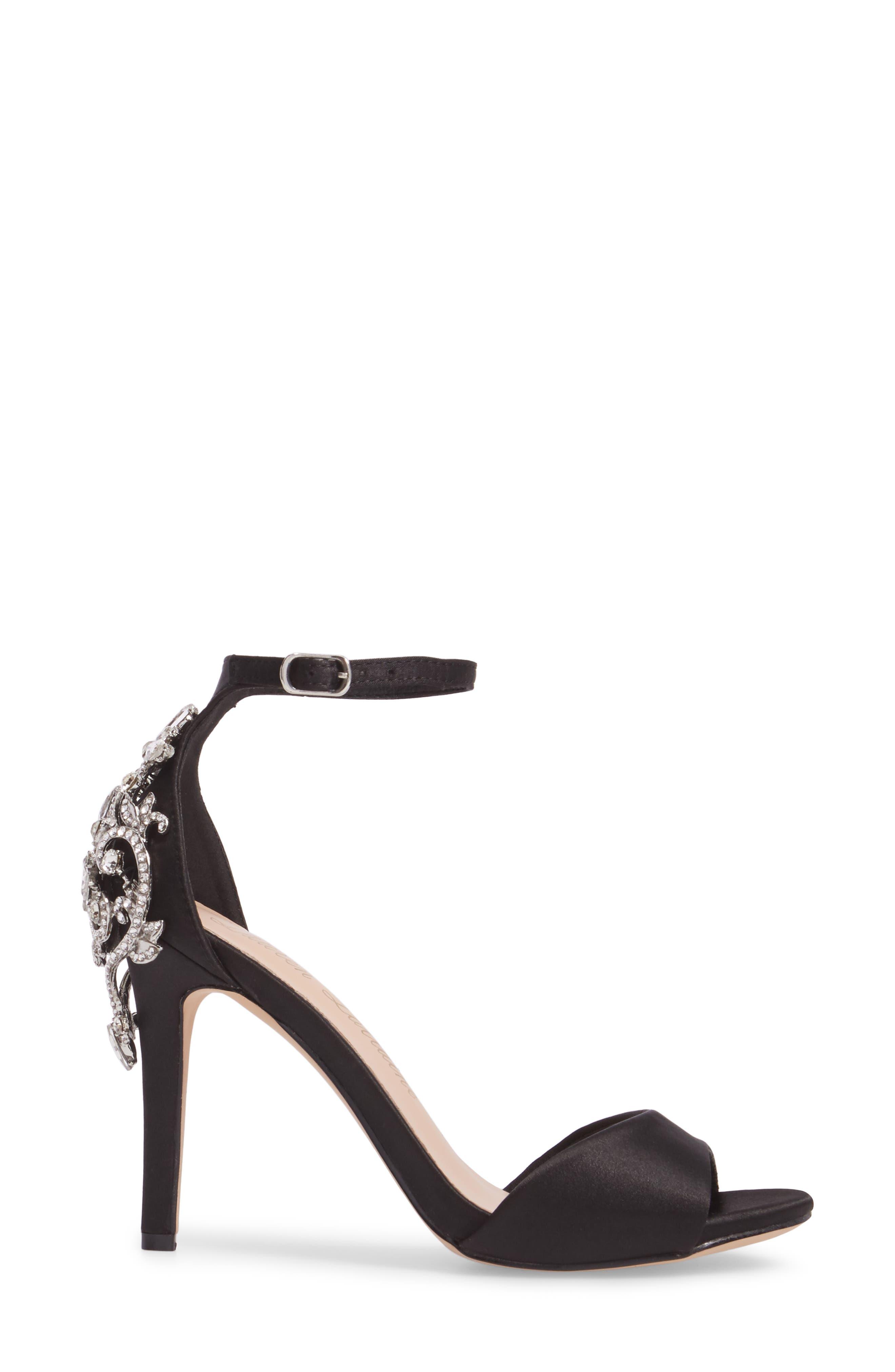Monet Crystal Embellished Sandal,                             Alternate thumbnail 3, color,                             Black Satin