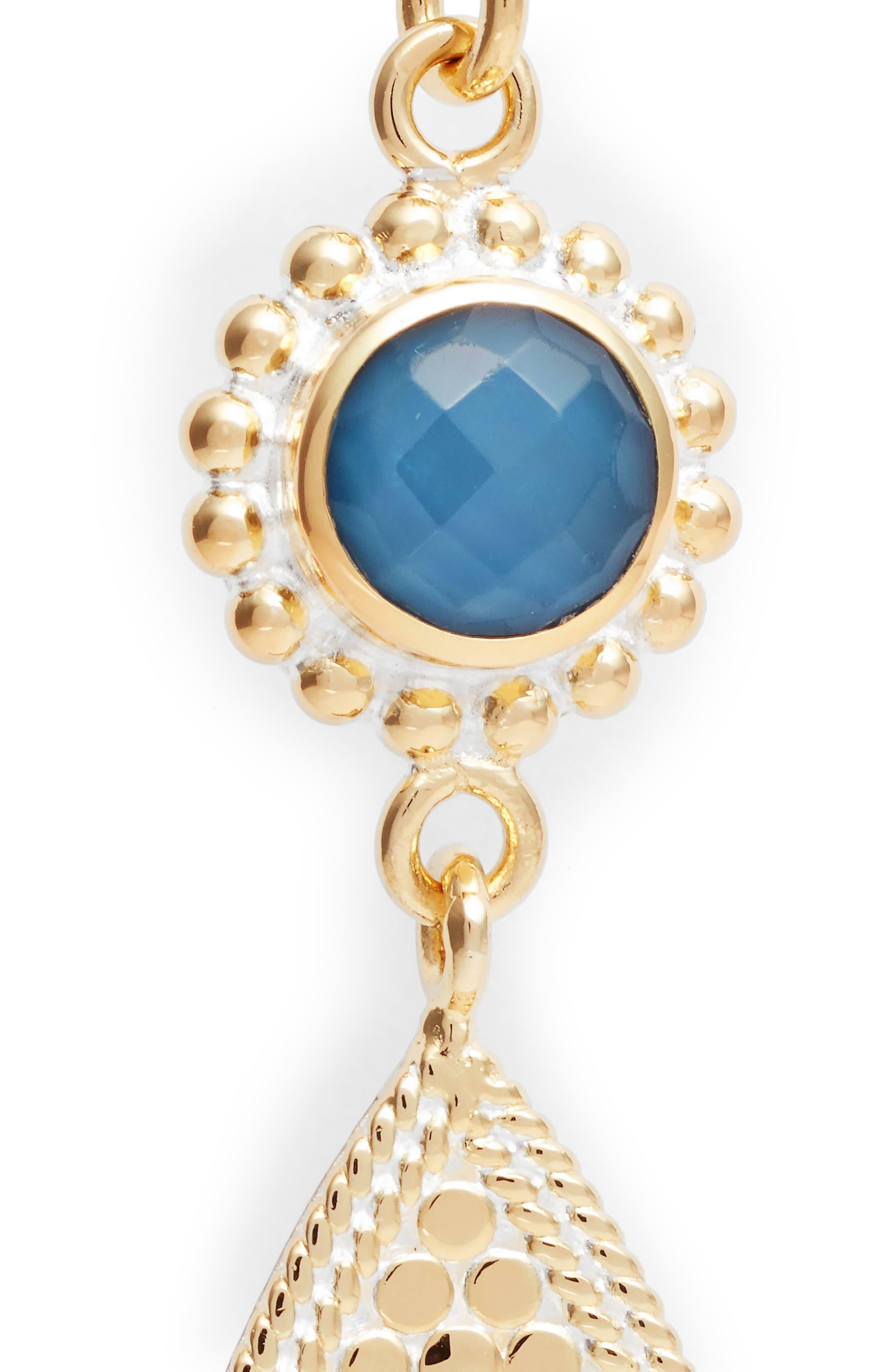 Blue Quartz Double Drop Earrings,                             Alternate thumbnail 5, color,                             Gold/ Blue Quartz