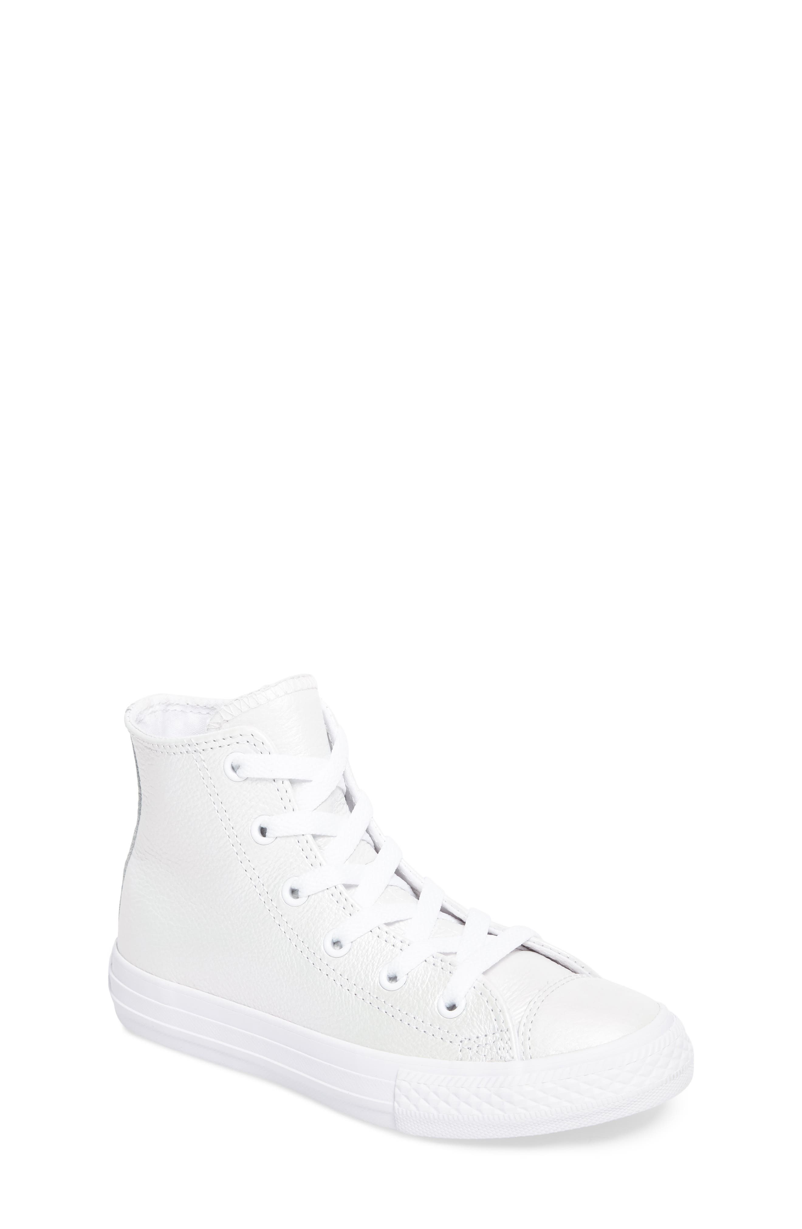 Chuck Taylor<sup>®</sup> All Star<sup>®</sup> Iridescent Leather High Top Sneaker,                             Main thumbnail 1, color,                             White Leather