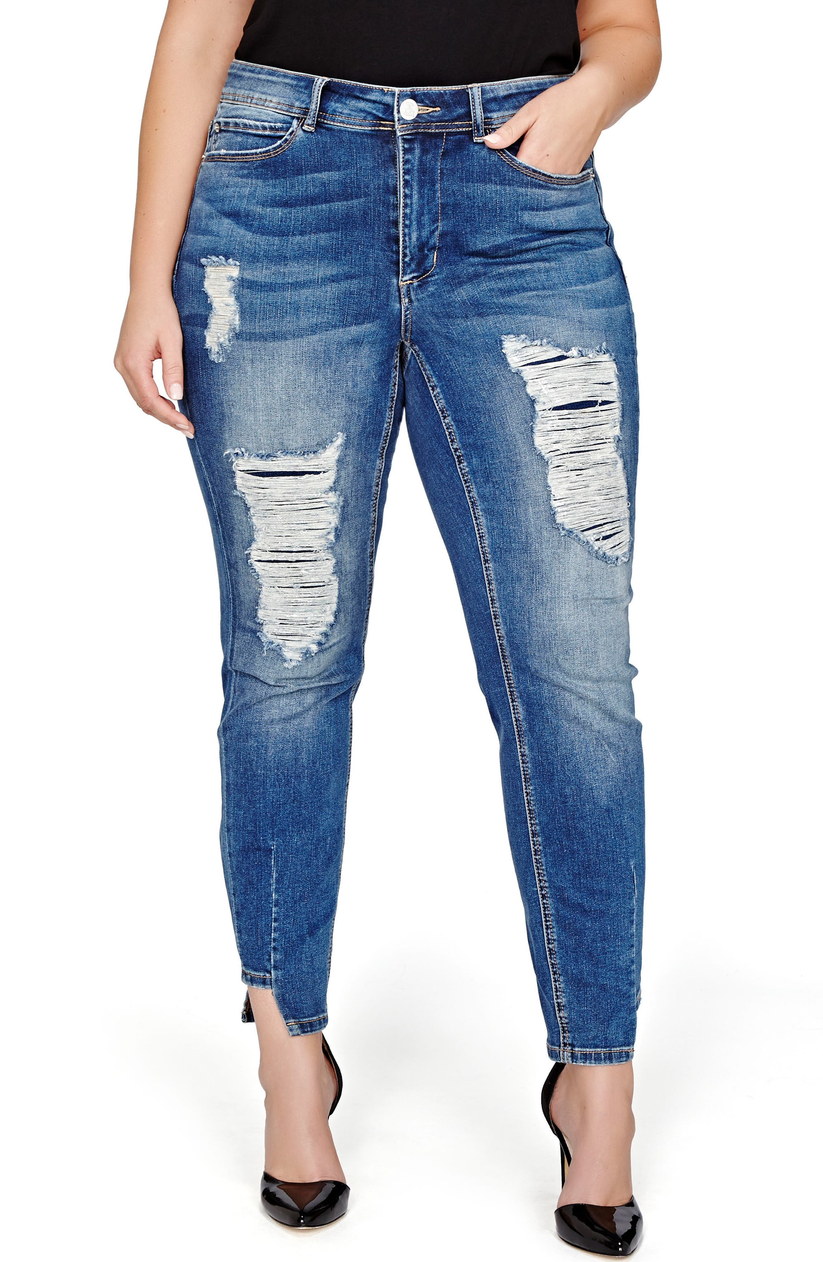 Main Image - ADDITION ELLE LOVE AND LEGEND Foil On Ripped Skinny Jeans (Plus Size)