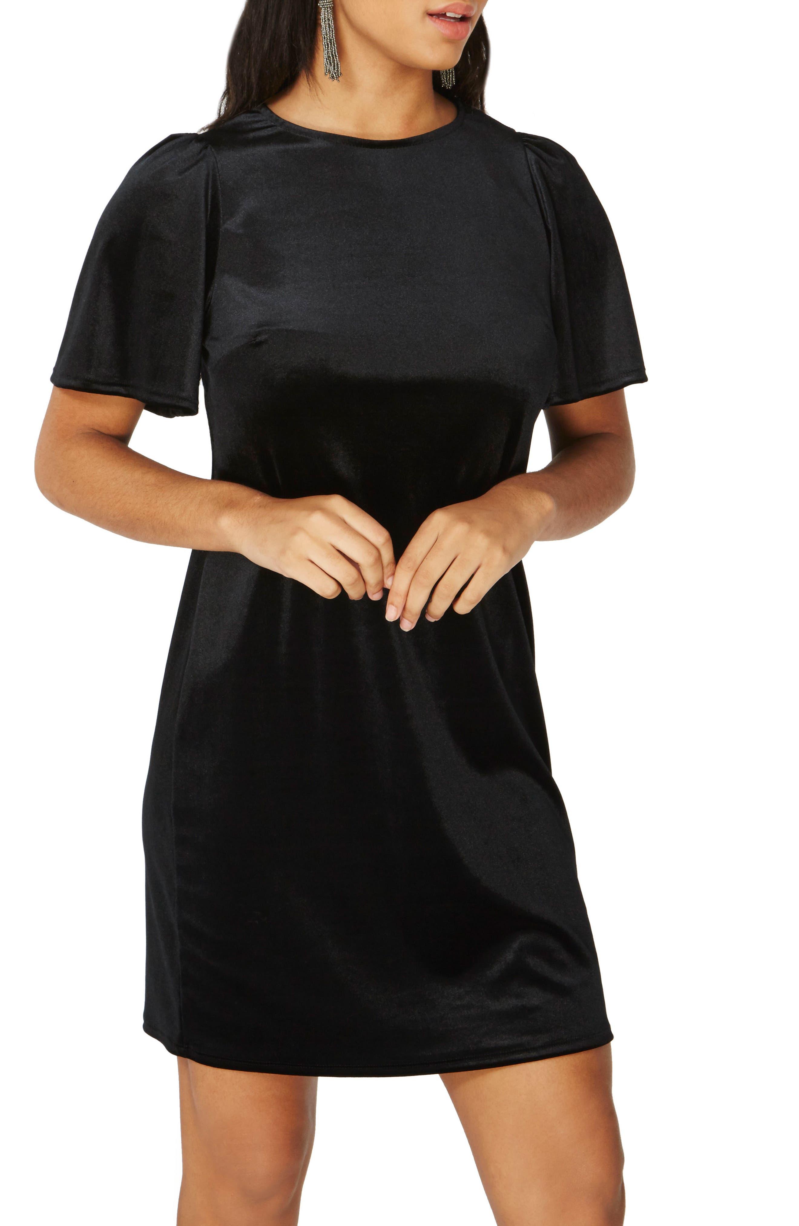 Velvet Shift Dress,                             Alternate thumbnail 3, color,                             Black