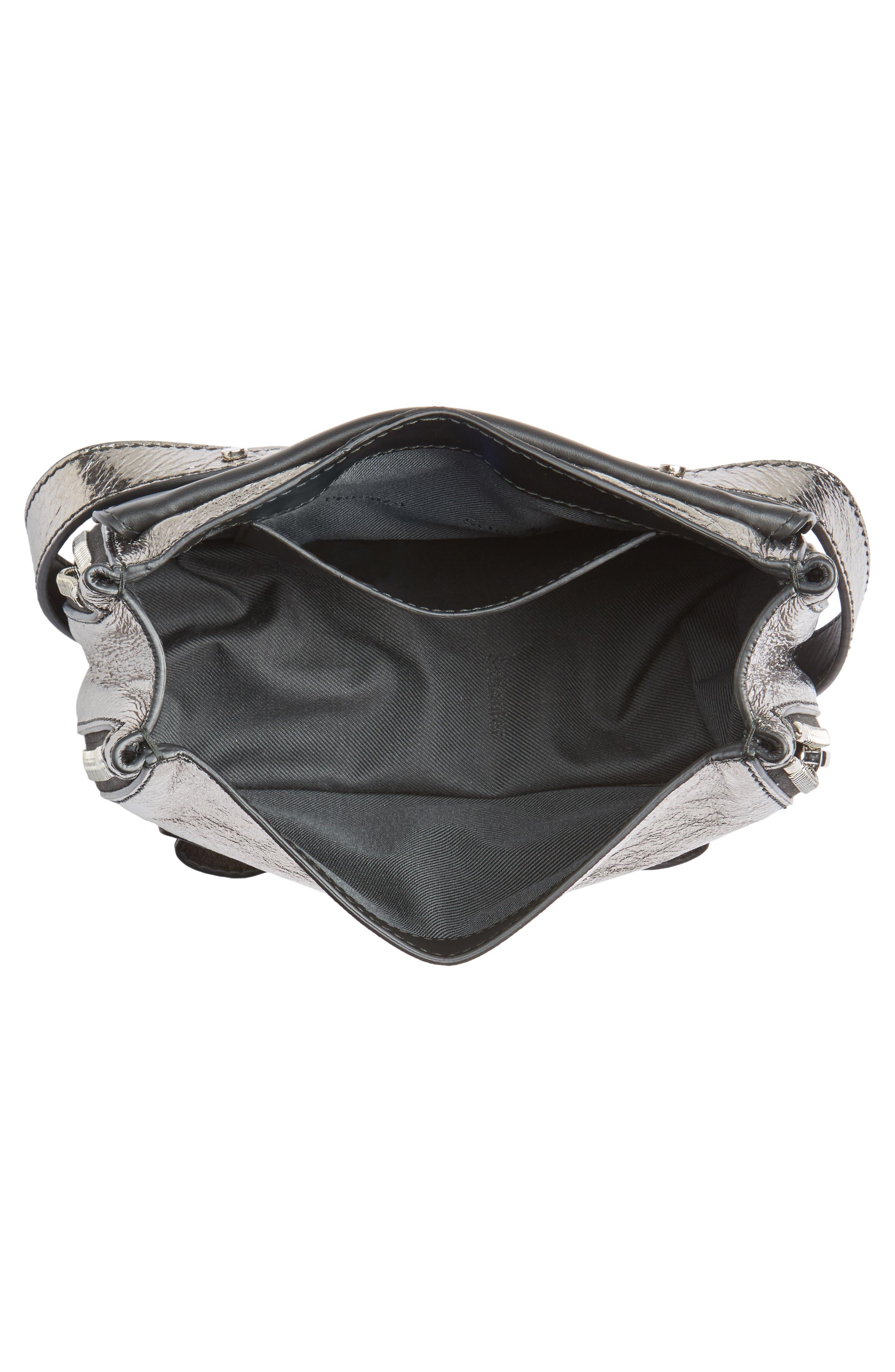 Mini PS1 Metallic Leather Crossbody Bag,                             Alternate thumbnail 4, color,                             Dark Silver
