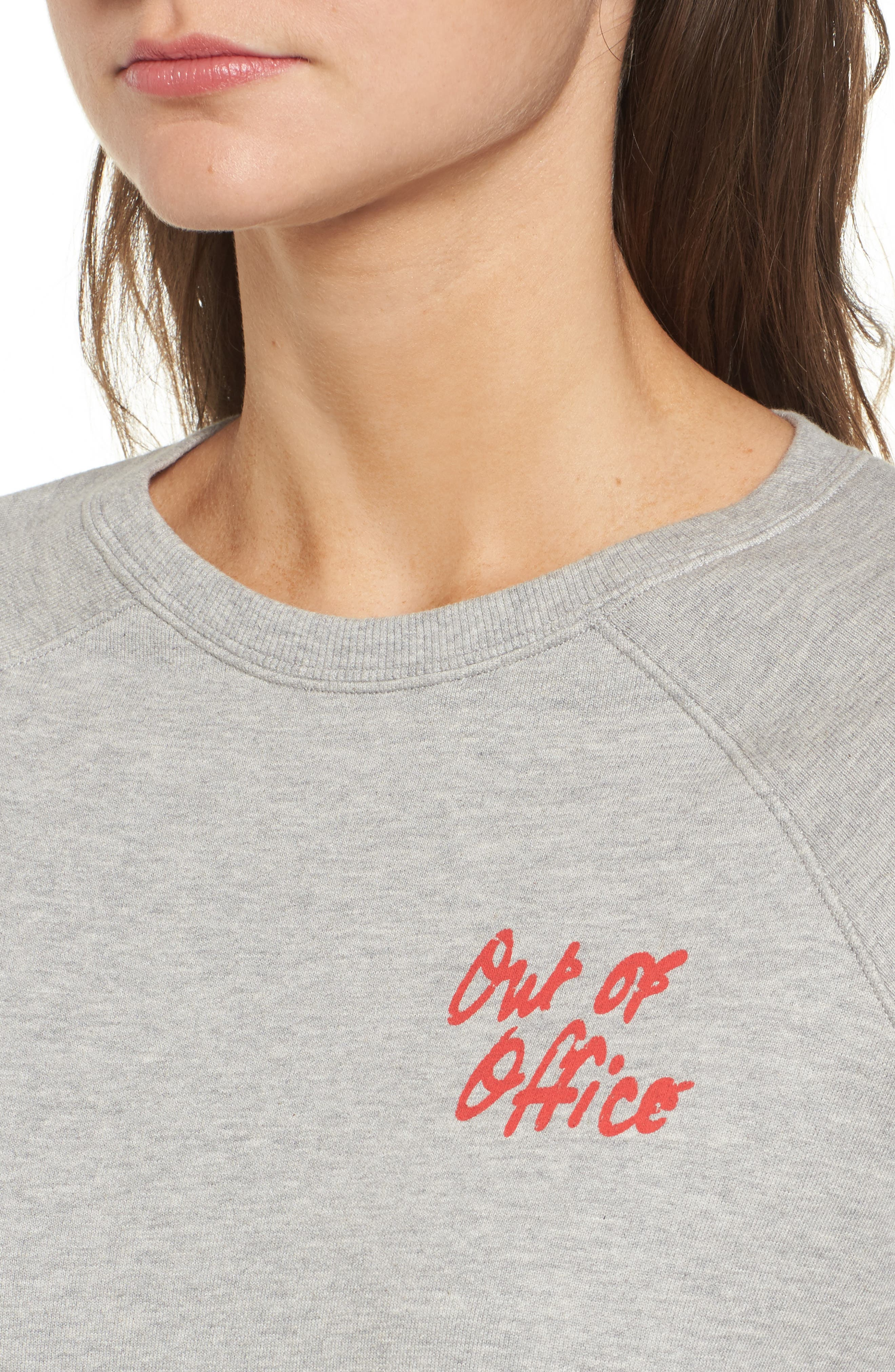 Out of Office Sweatshirt,                             Alternate thumbnail 4, color,                             Heather Grey/ Red