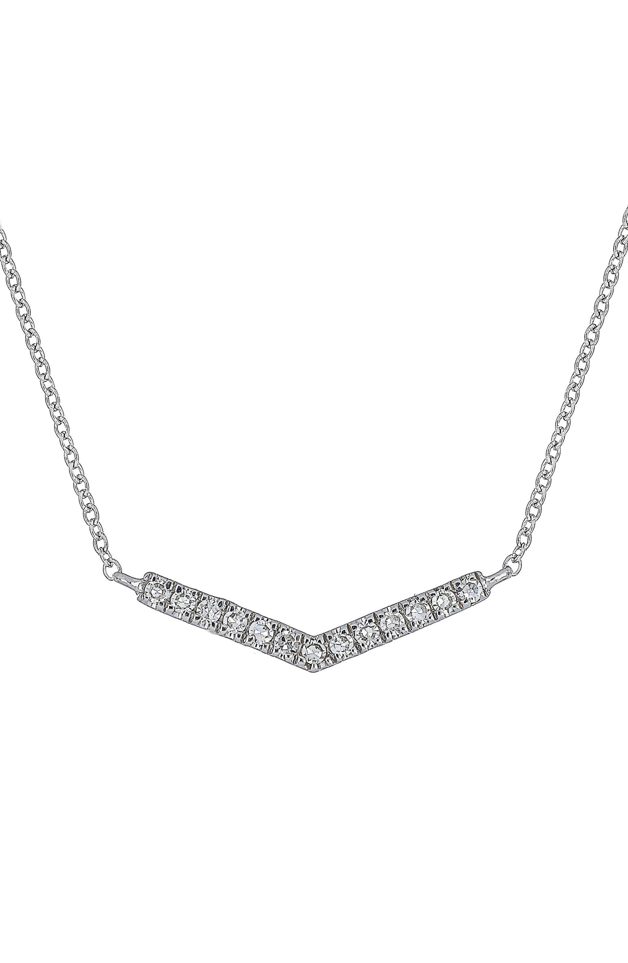Carrière Diamond Chevron Pendant Necklace,                         Main,                         color, Silver/ Diamond
