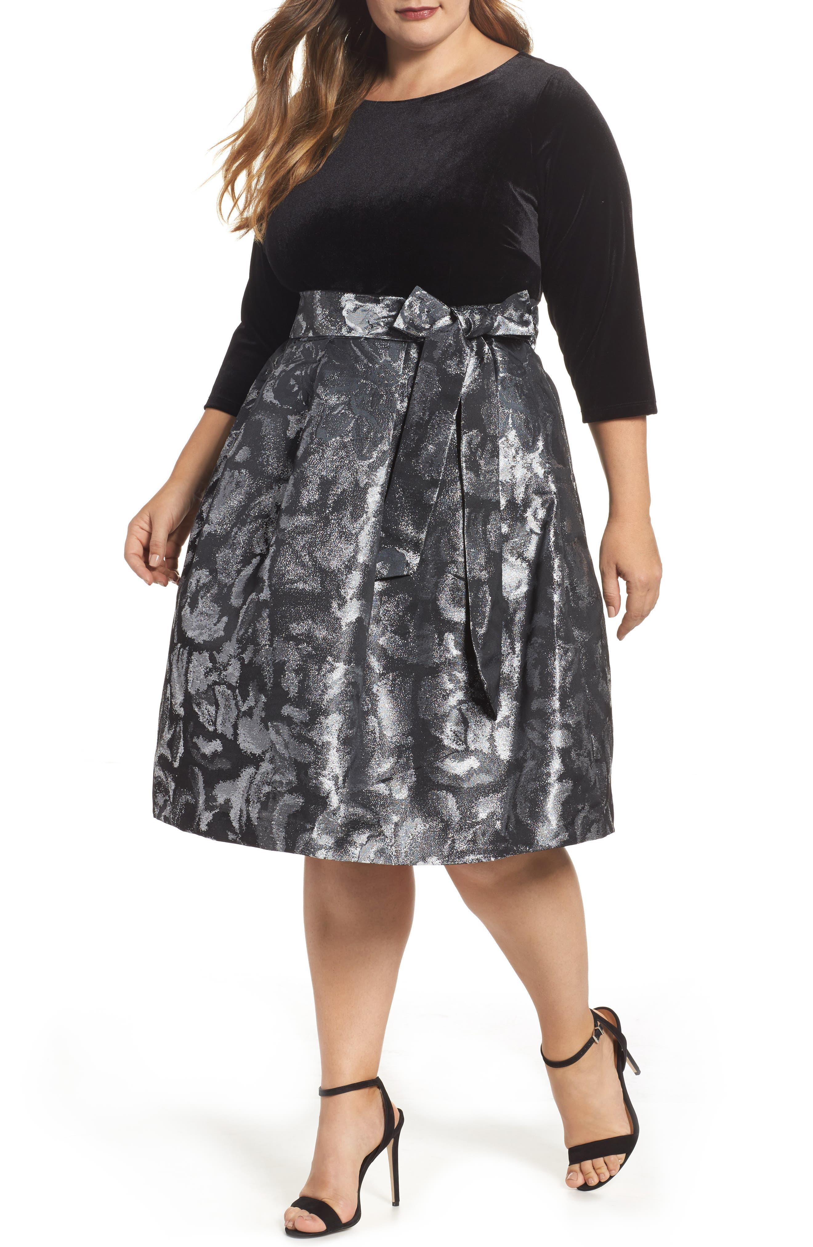Main Image - Eliza J Velvet Shimmer Fit & Flare Dress (Plus Size)