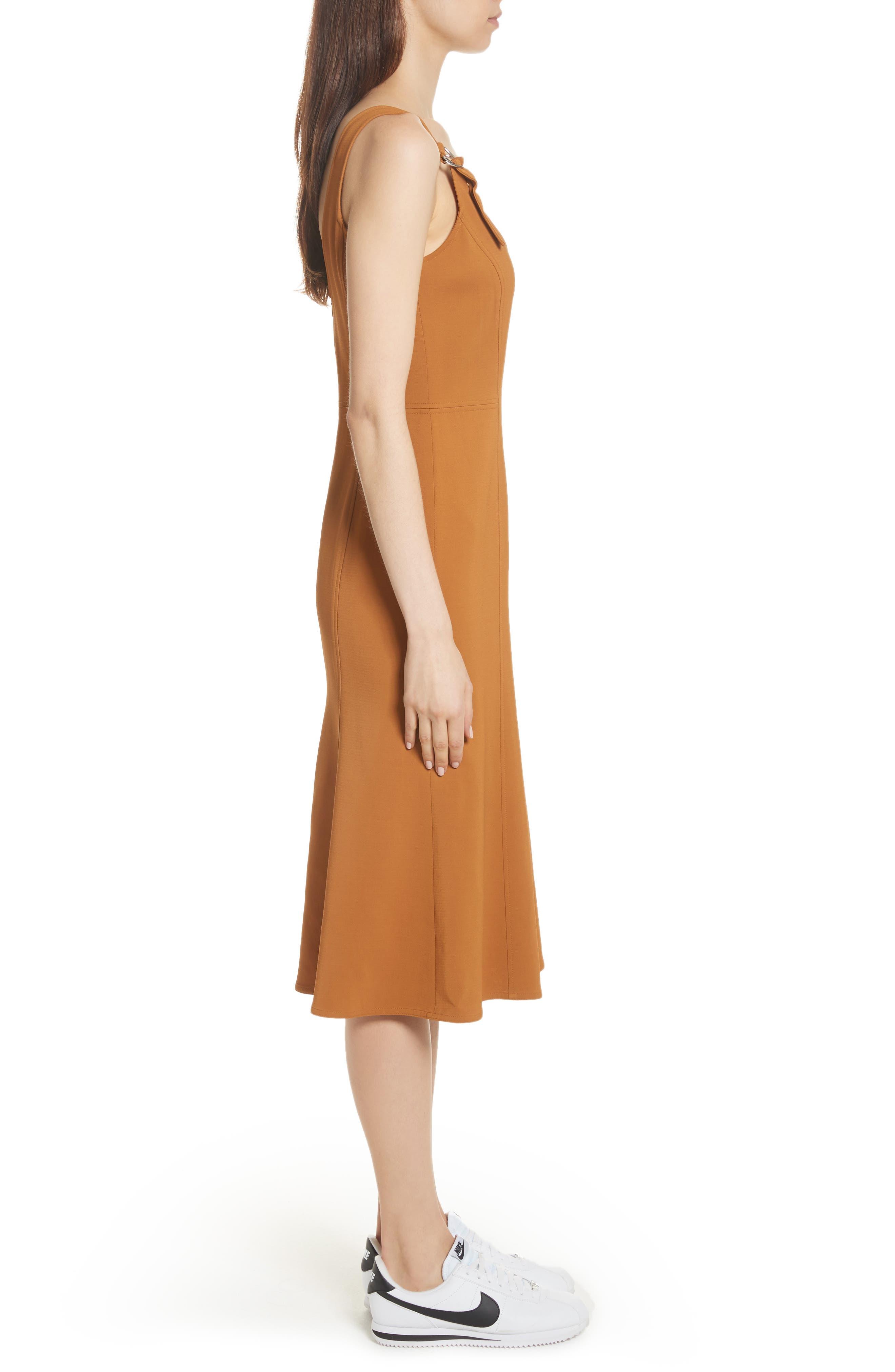Sander Buckle Strap Midi Dress,                             Alternate thumbnail 3, color,                             Gold