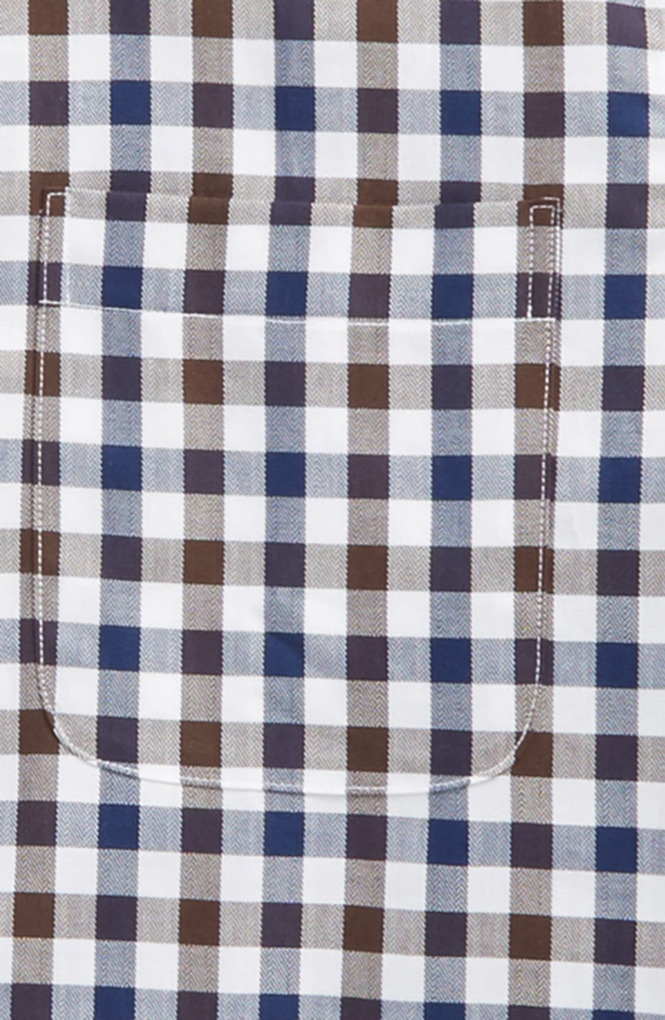 Gingham Sport Shirt,                             Alternate thumbnail 2, color,                             Brown Cocoa