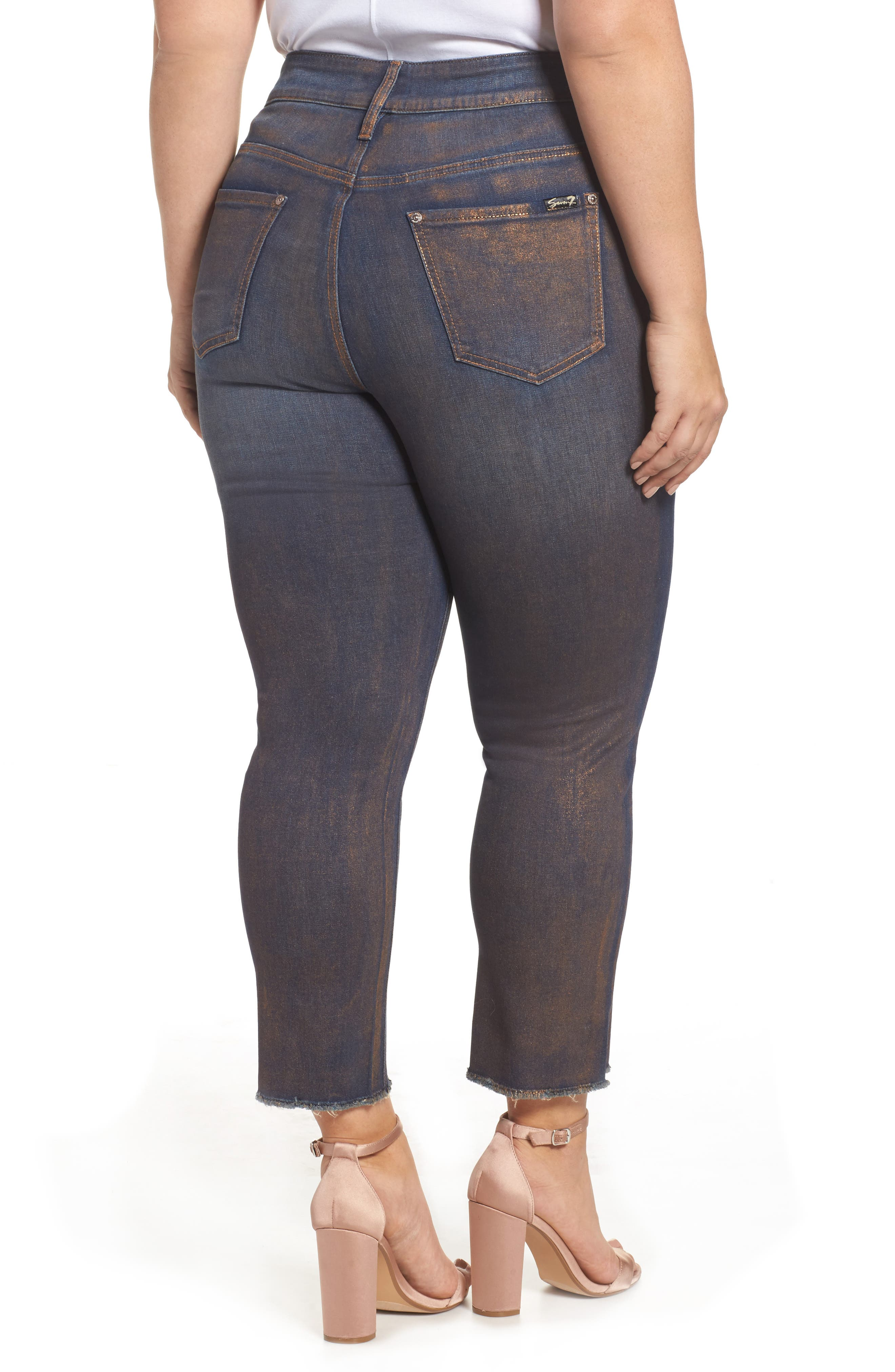 Alternate Image 2  - Seven7 Raw Hem Skinny Ankle Jeans (Plus Size)