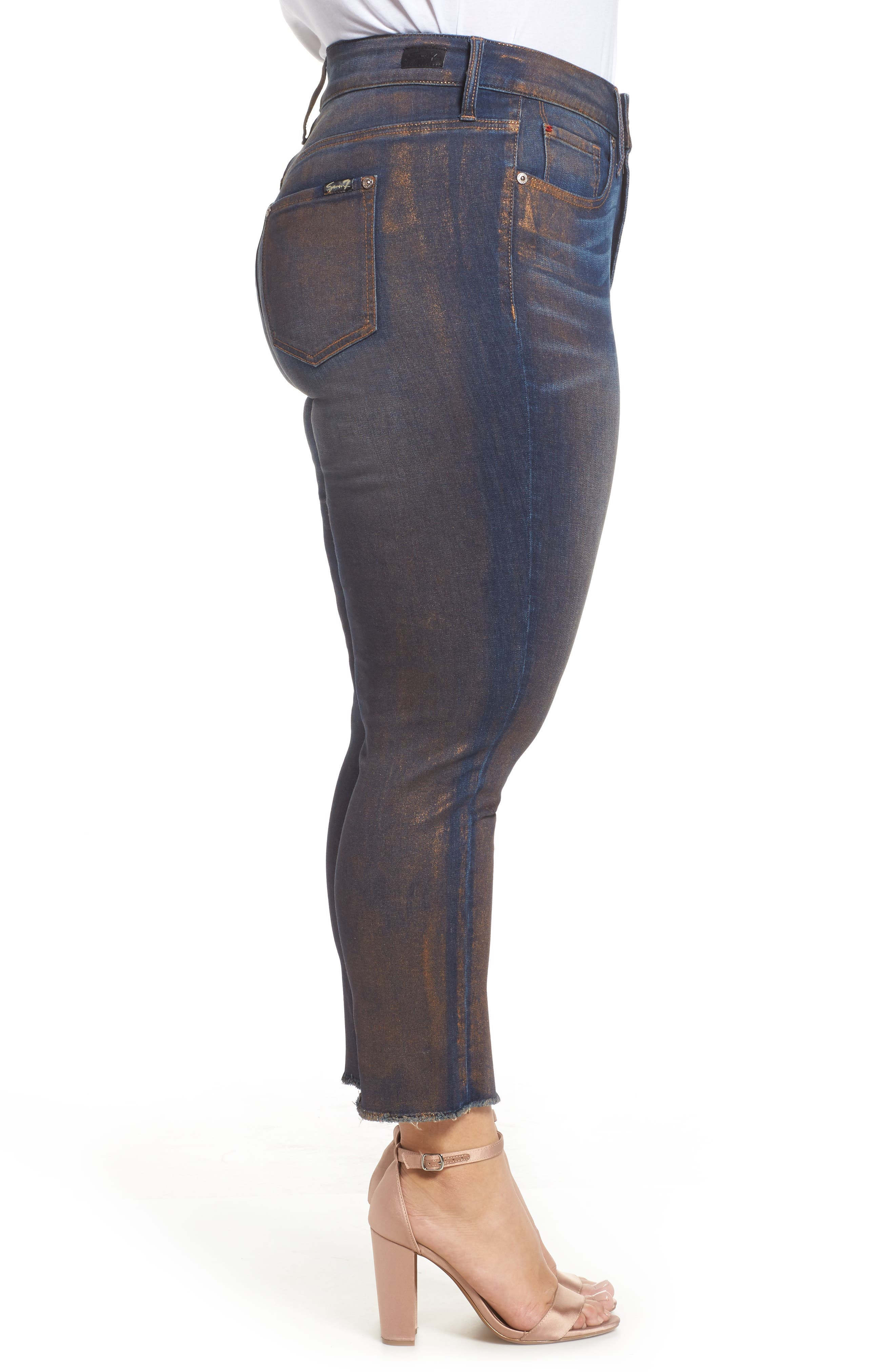 Alternate Image 3  - Seven7 Raw Hem Skinny Ankle Jeans (Plus Size)