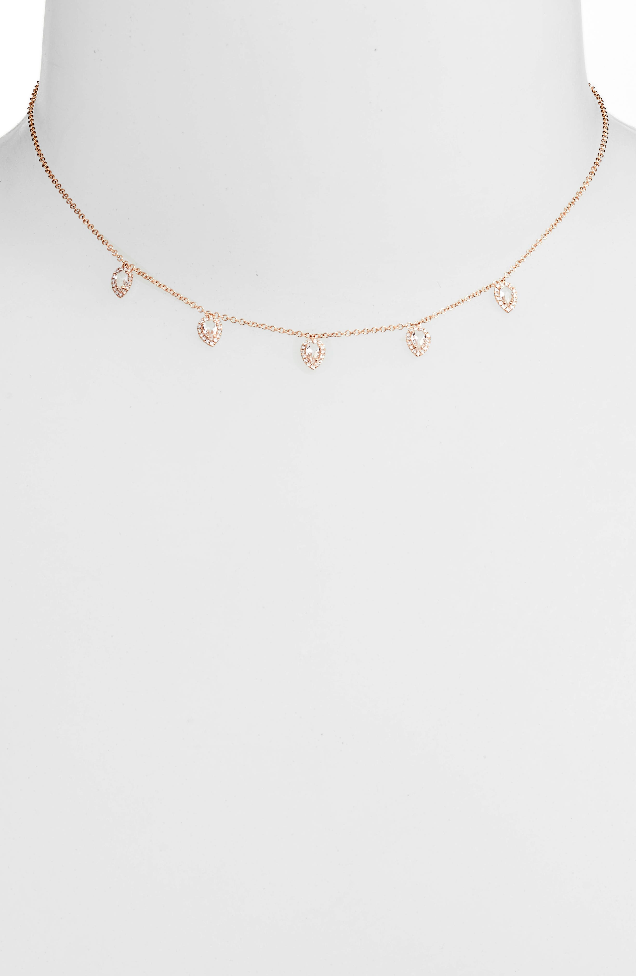 Diamond Collar Necklace,                         Main,                         color, Rose Gold