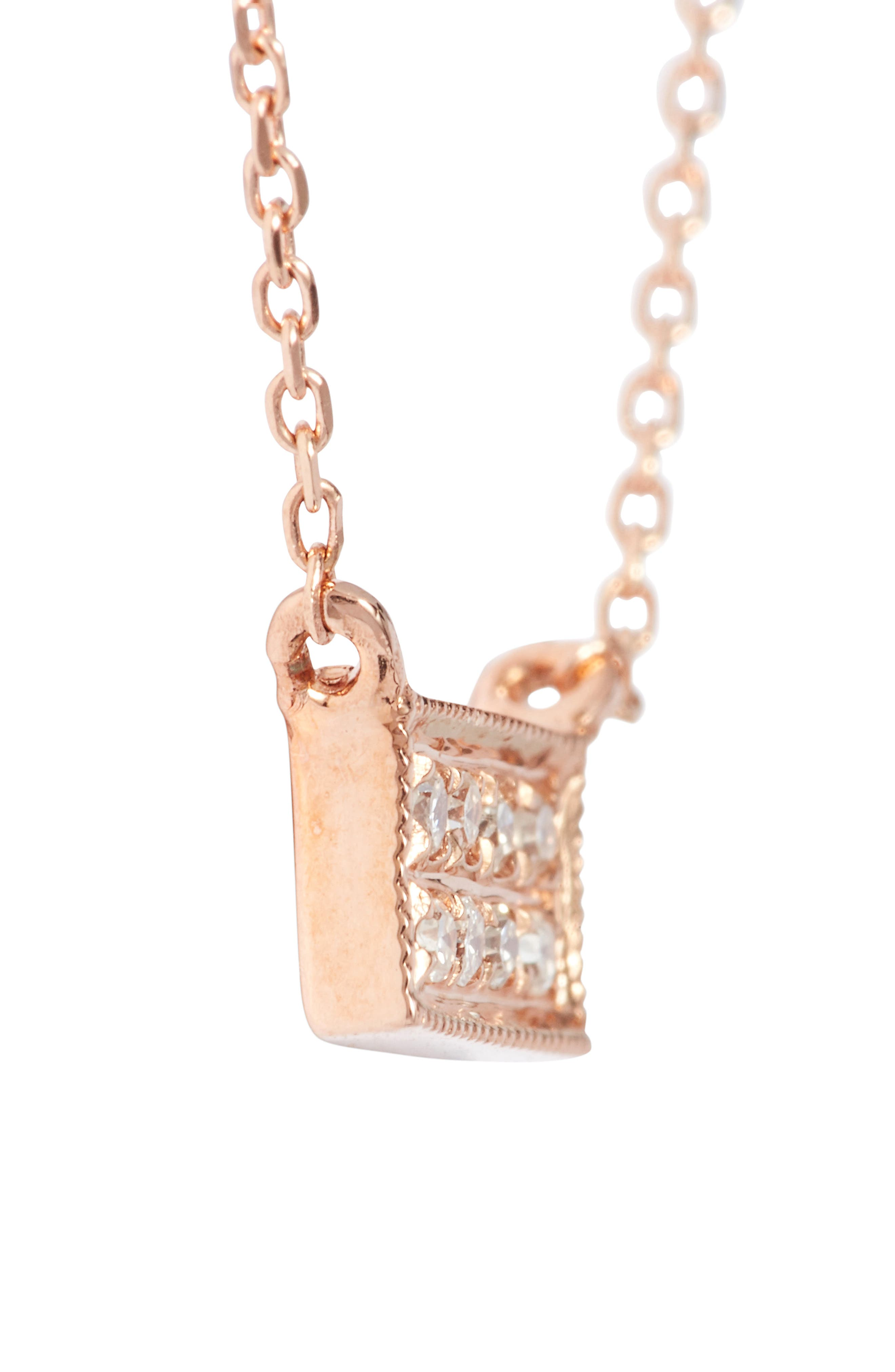 'Katie' Diamond Bar Pendant Necklace,                             Alternate thumbnail 3, color,                             Rose Gold