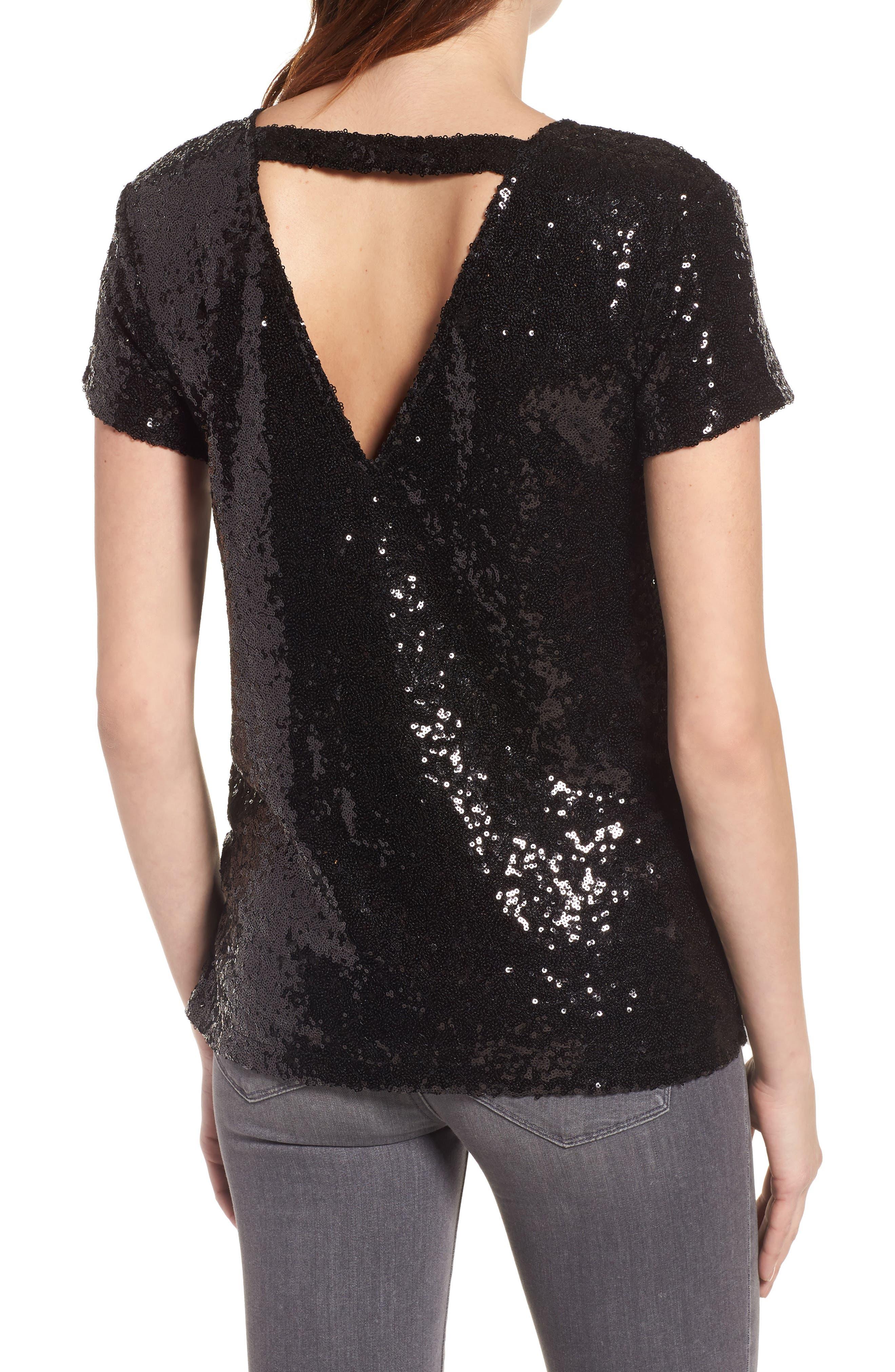 V-Back Sequin Top,                             Alternate thumbnail 2, color,                             Black