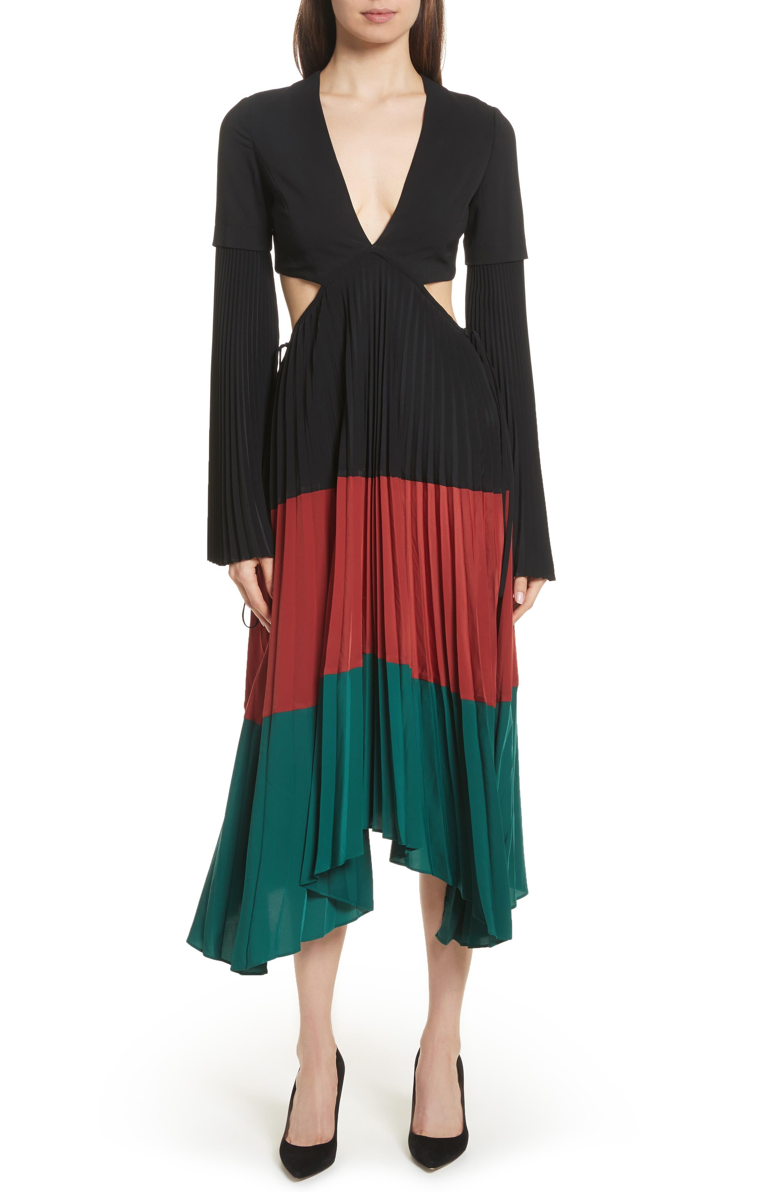 Rio Cutout Pleated Midi Dress,                             Main thumbnail 1, color,                             Black