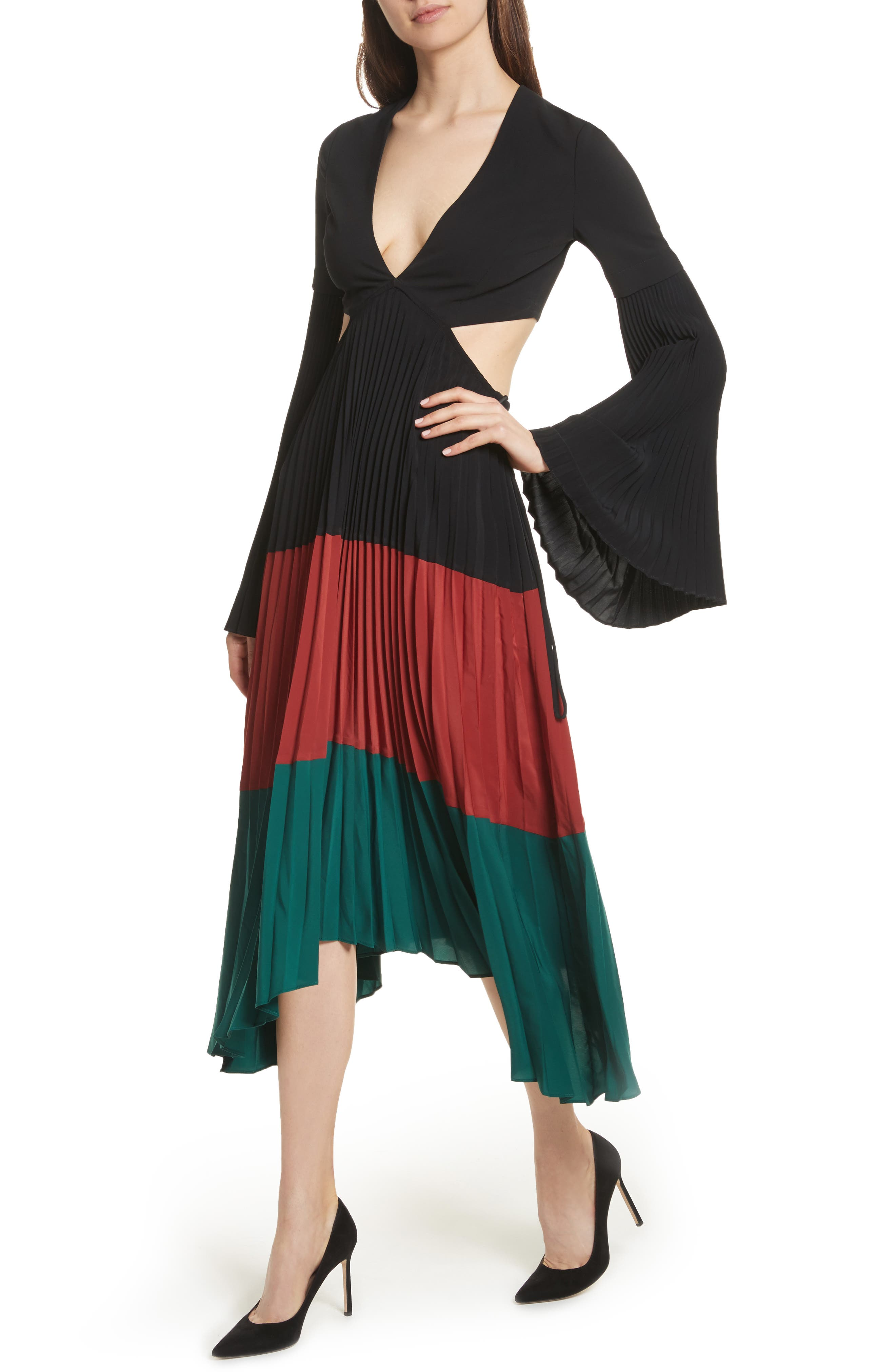 Rio Cutout Pleated Midi Dress,                             Alternate thumbnail 4, color,                             Black