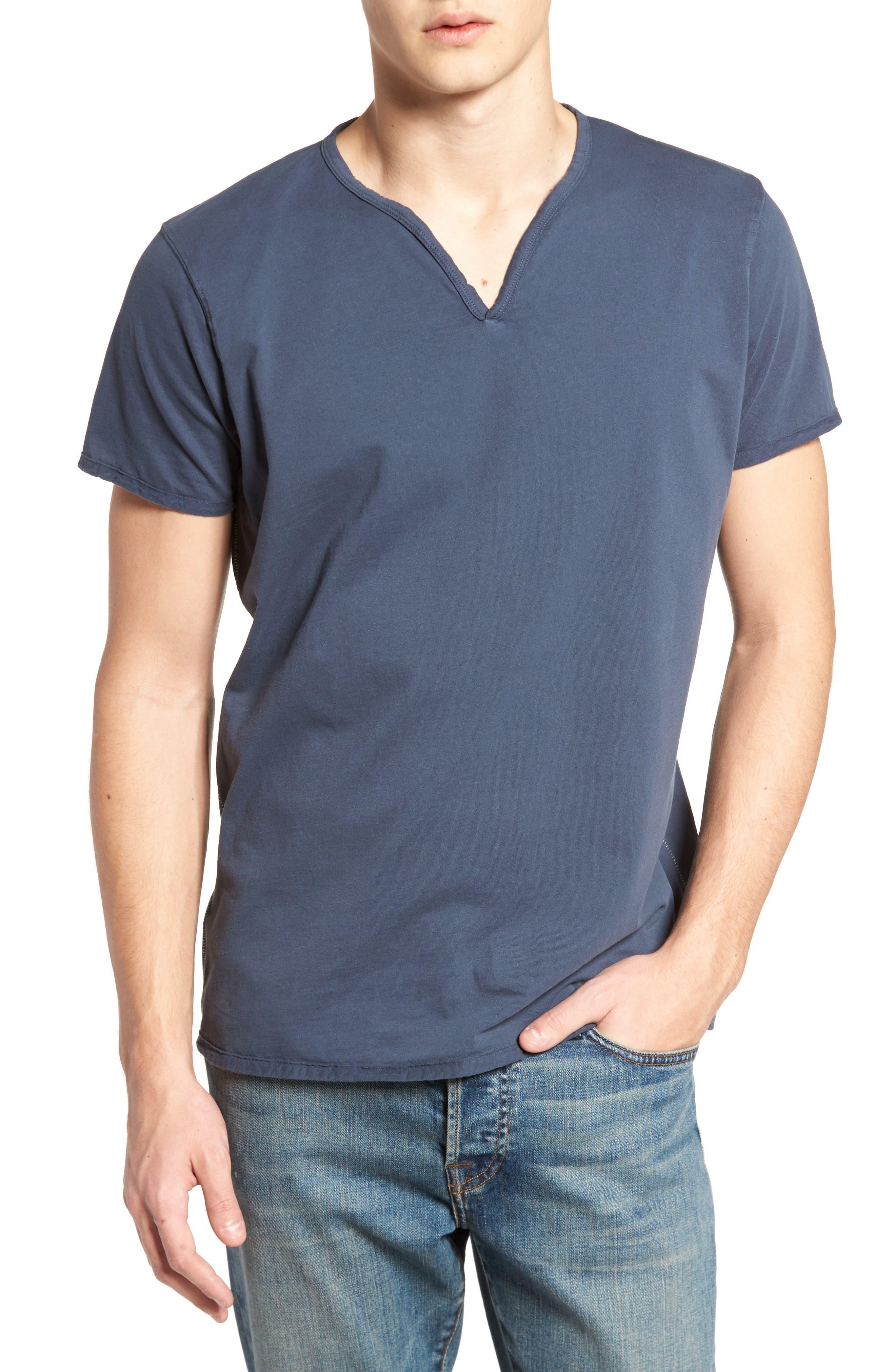 Notch Henley T-Shirt,                         Main,                         color, Vintage Navy