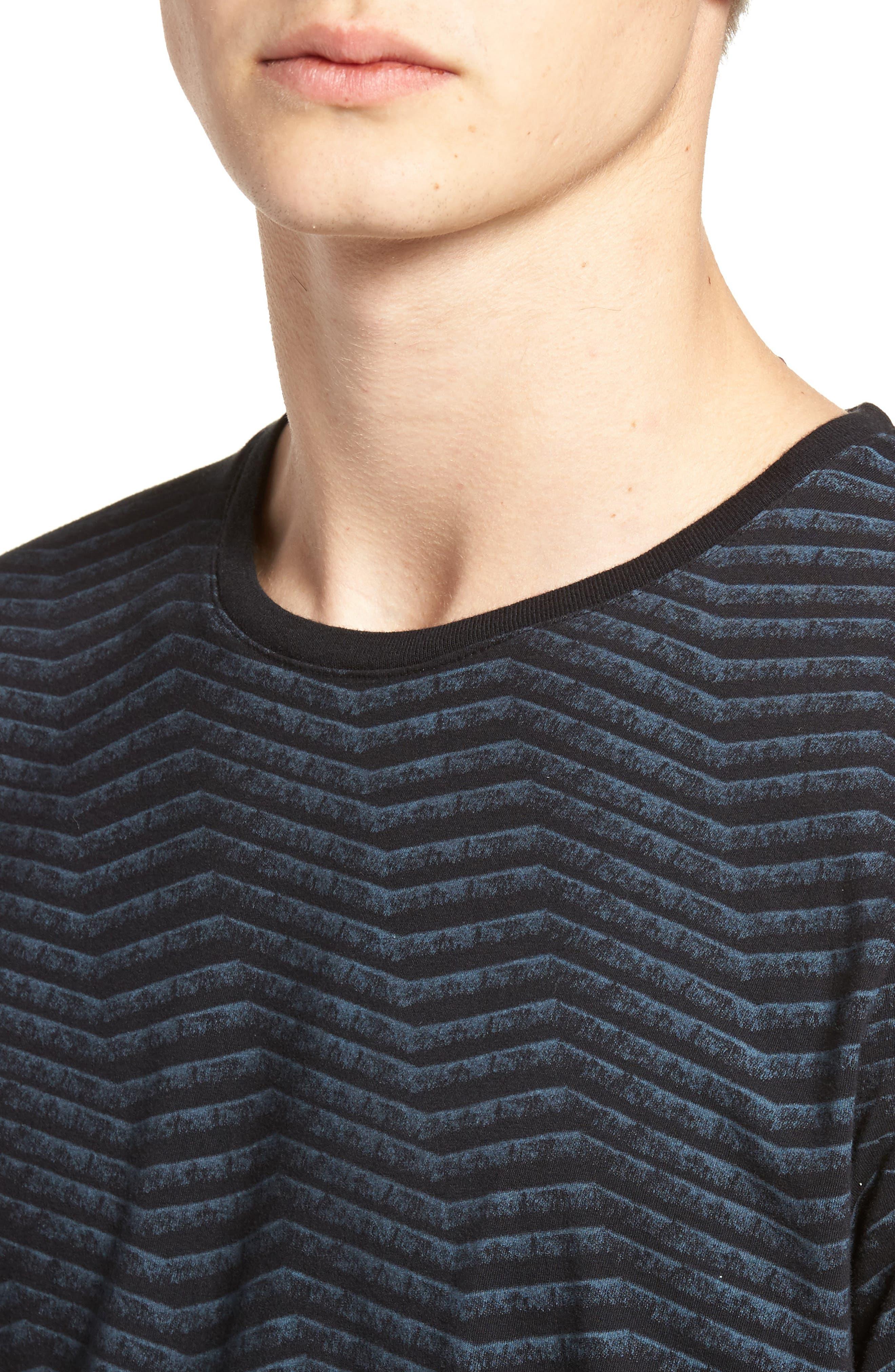 Chevron Stripe T-Shirt,                             Alternate thumbnail 4, color,                             Black