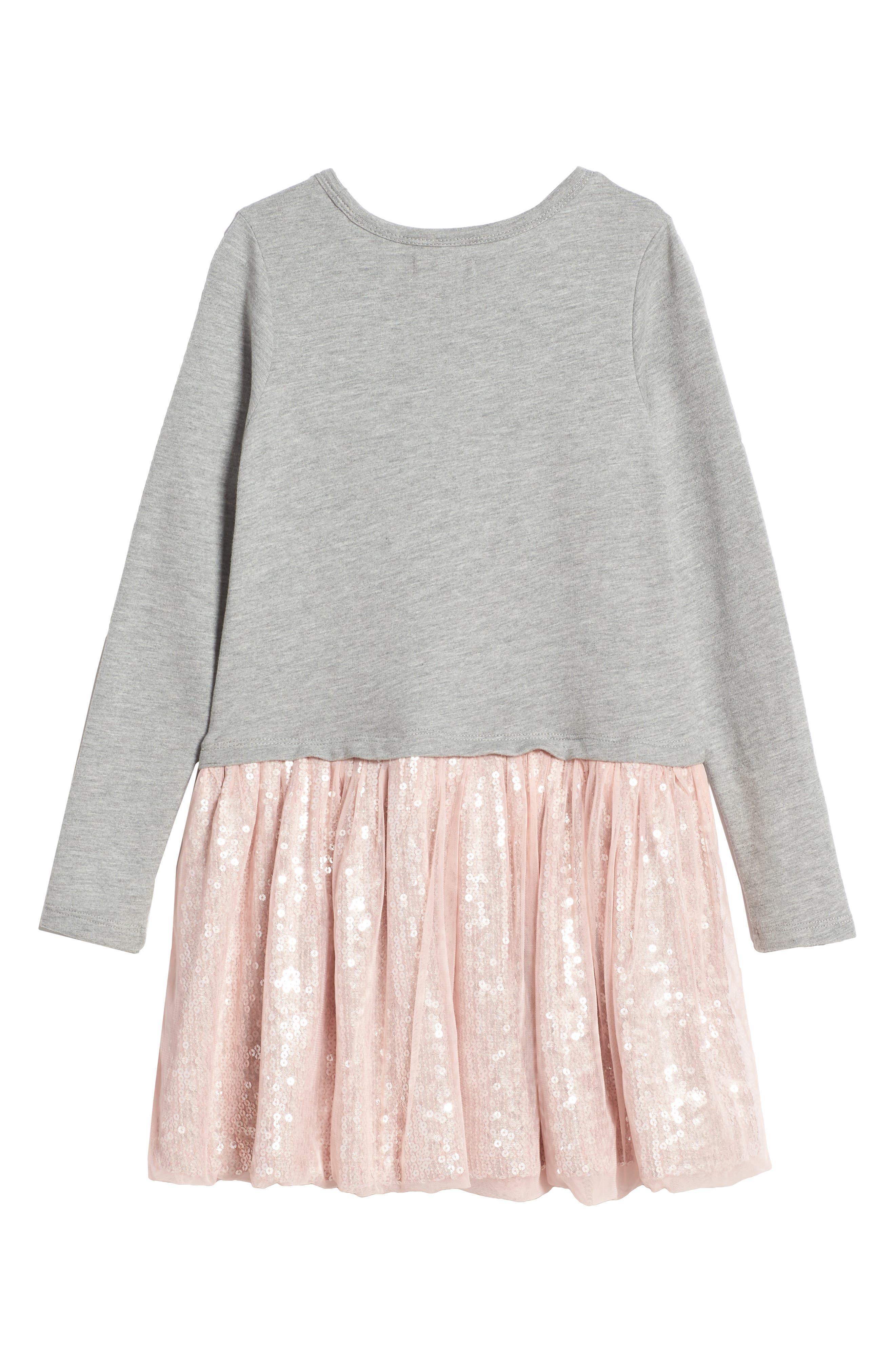 Sequin Tutu Dress,                             Alternate thumbnail 2, color,                             Grey Medium Heather Swan