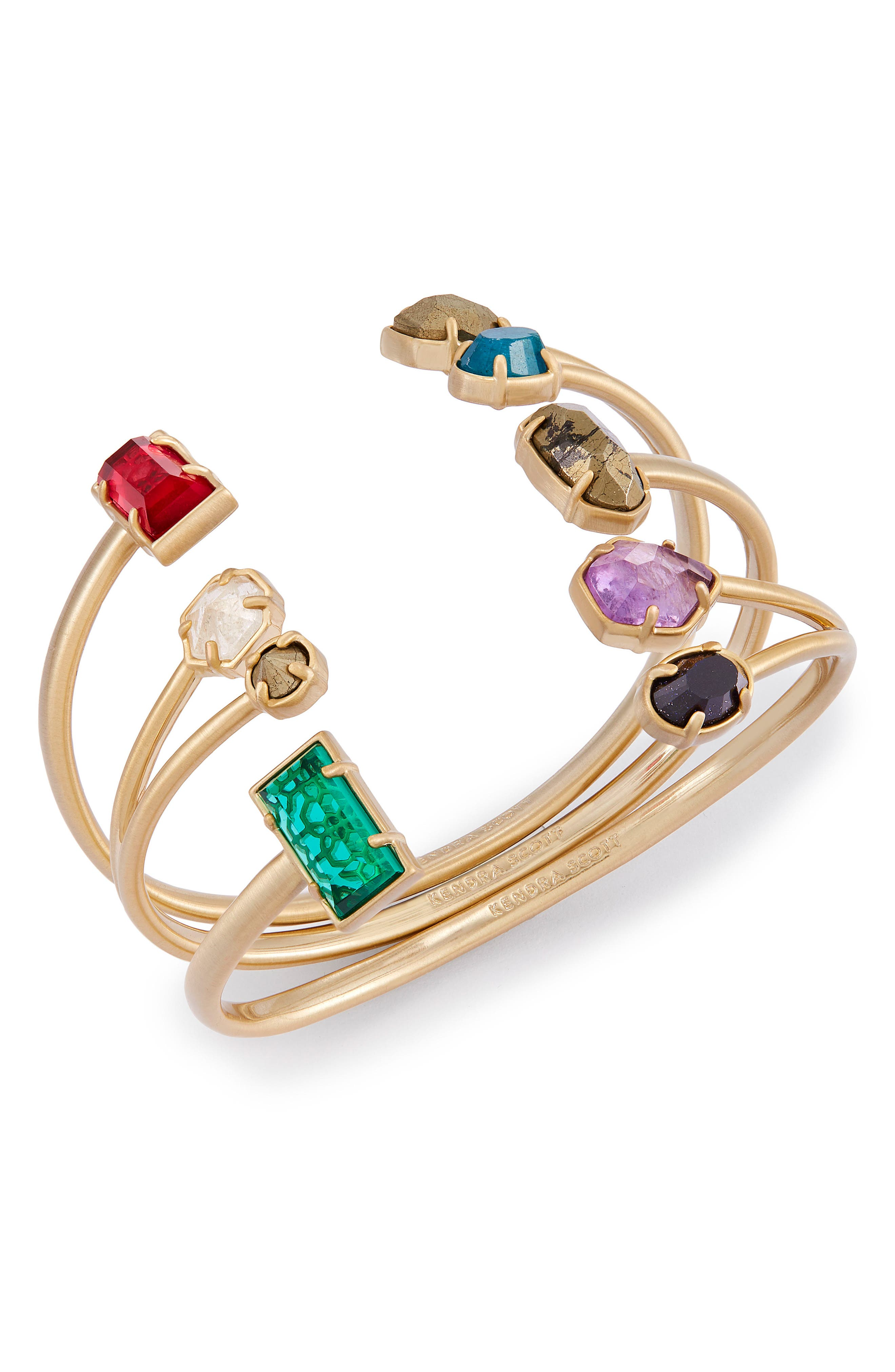 Cammy Set of 3 Cuffs,                         Main,                         color, Jewel Tone Mix/ Brass