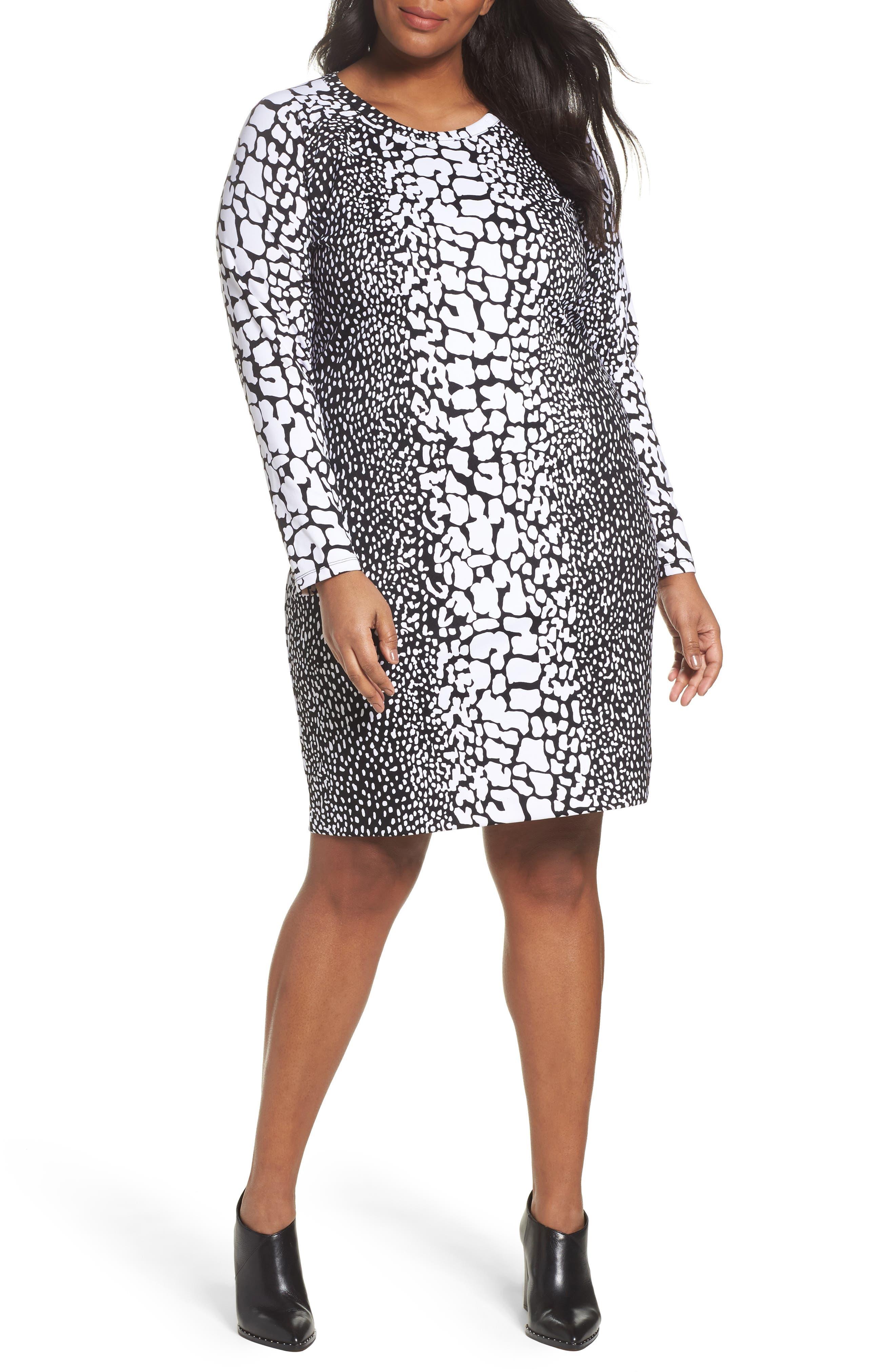 Croc Print Ponte Dress,                         Main,                         color, Black/ White