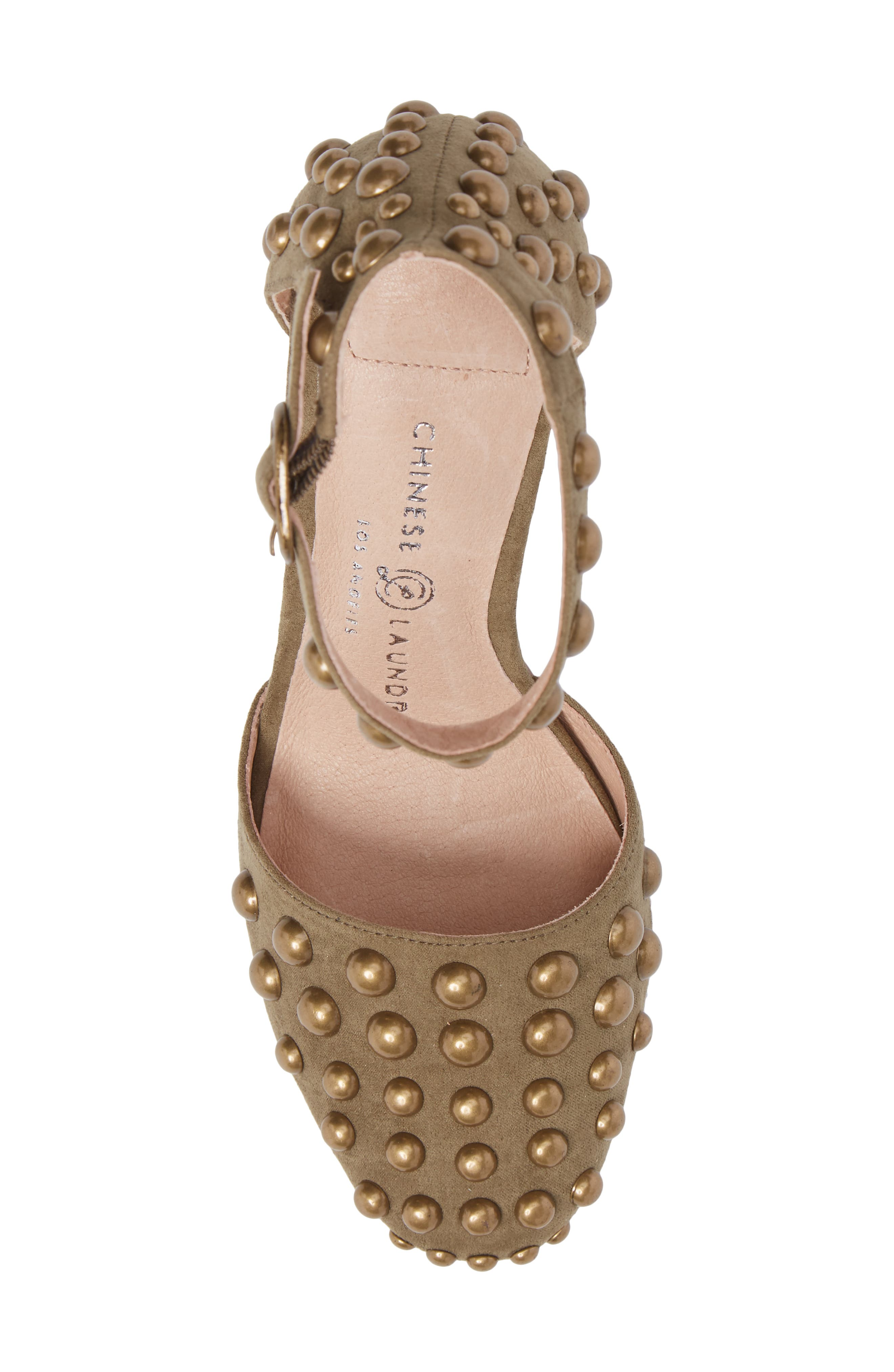 Vegas Studded Pump,                             Alternate thumbnail 5, color,                             Olive Suede