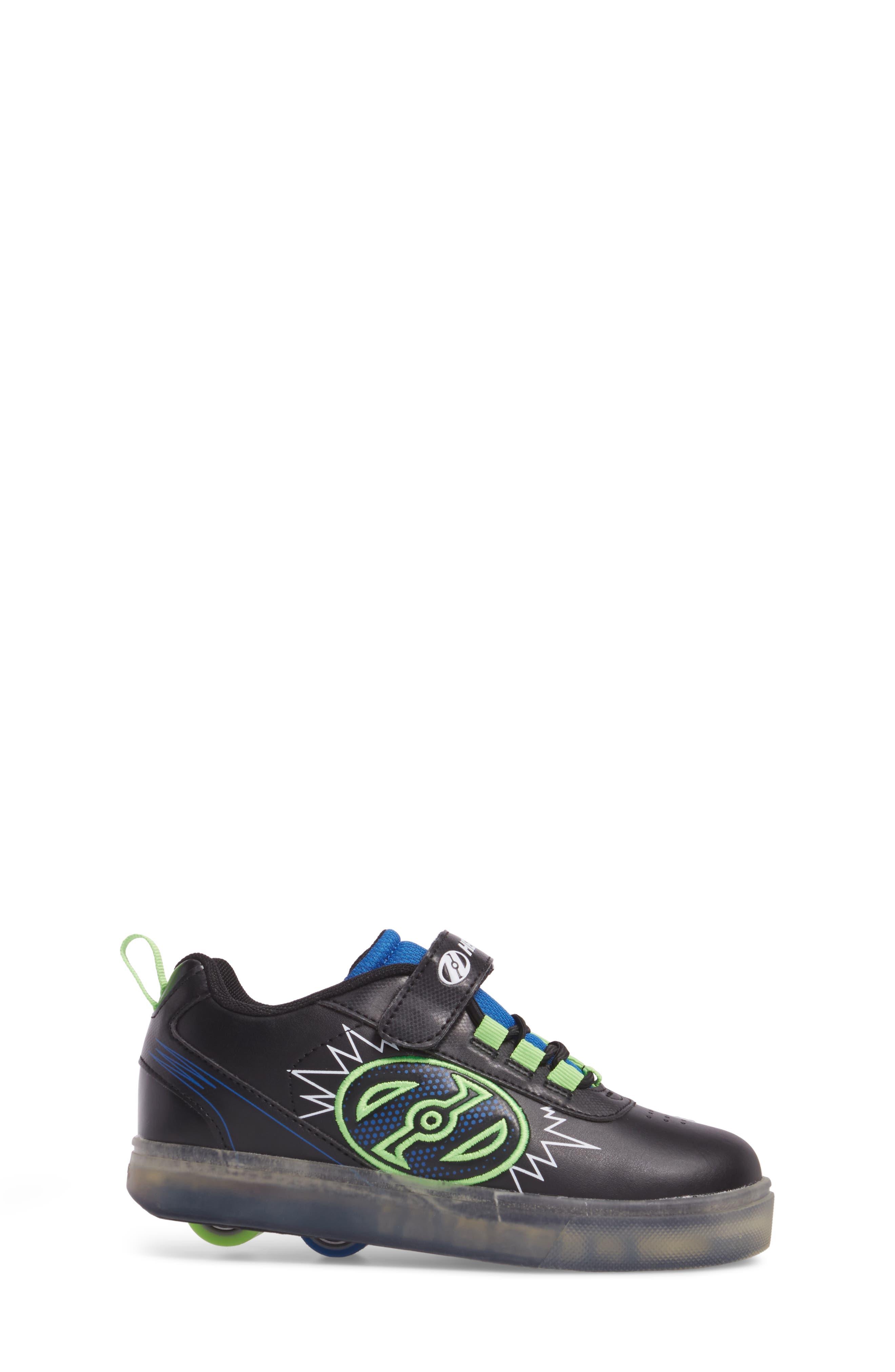 Pow X2 Light-Up Wheeled Skate Sneaker,                             Alternate thumbnail 3, color,                             Black/ Blue/ Green