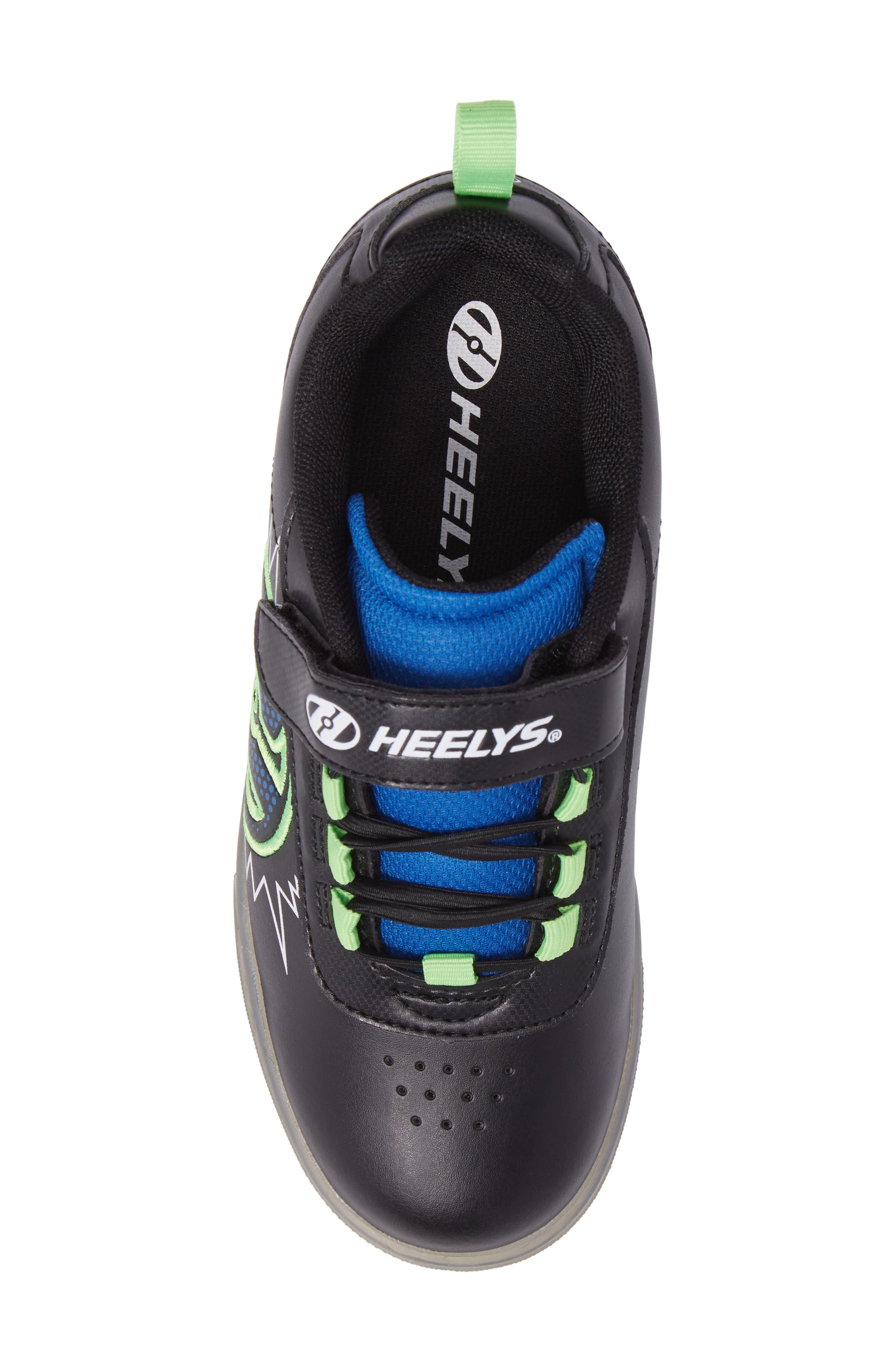 Pow X2 Light-Up Wheeled Skate Sneaker,                             Alternate thumbnail 5, color,                             Black/ Blue/ Green