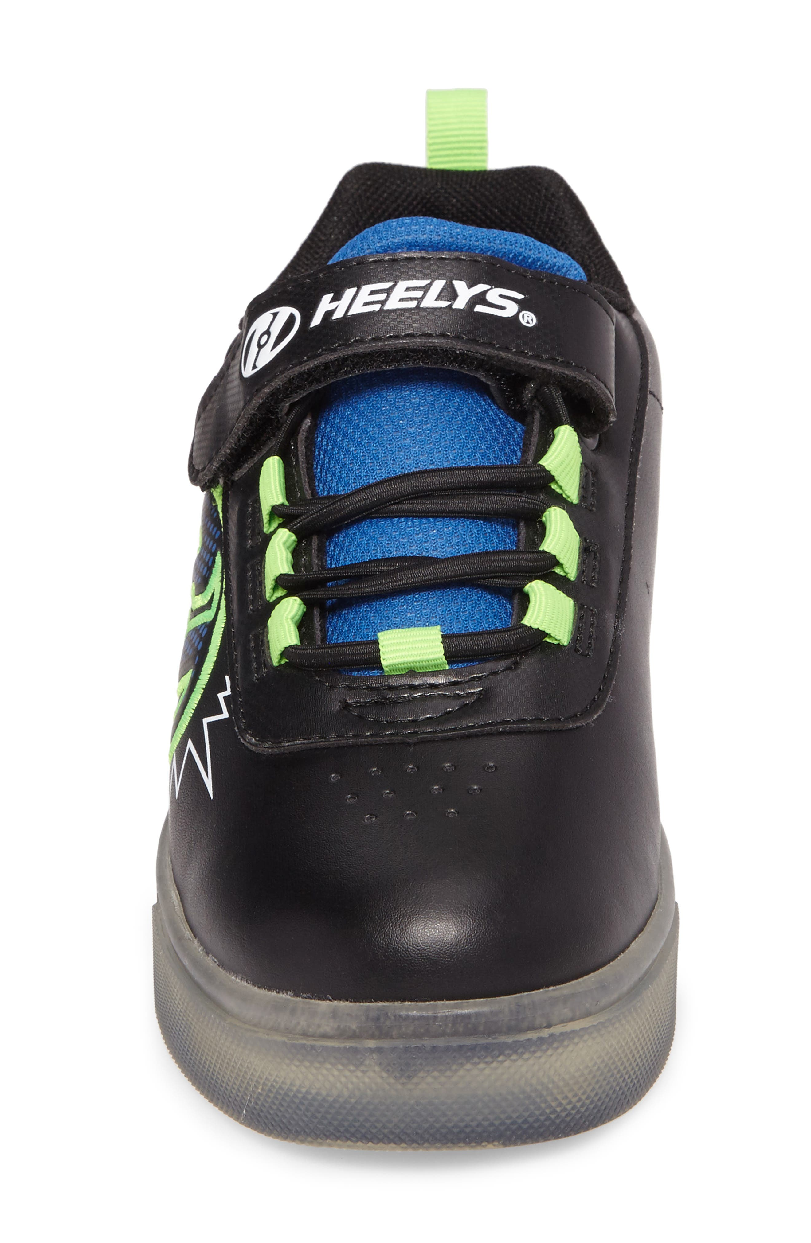 Pow X2 Light-Up Wheeled Skate Sneaker,                             Alternate thumbnail 4, color,                             Black/ Blue/ Green