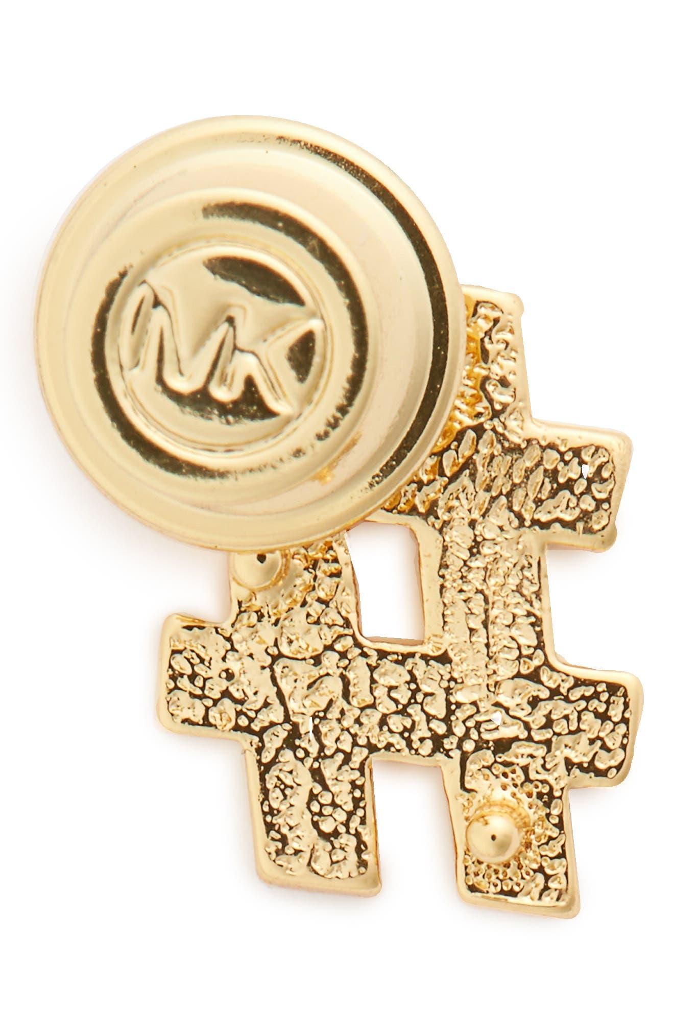 MICHAEL Michael Kors Hashtag Pin,                             Alternate thumbnail 2, color,                             Gold