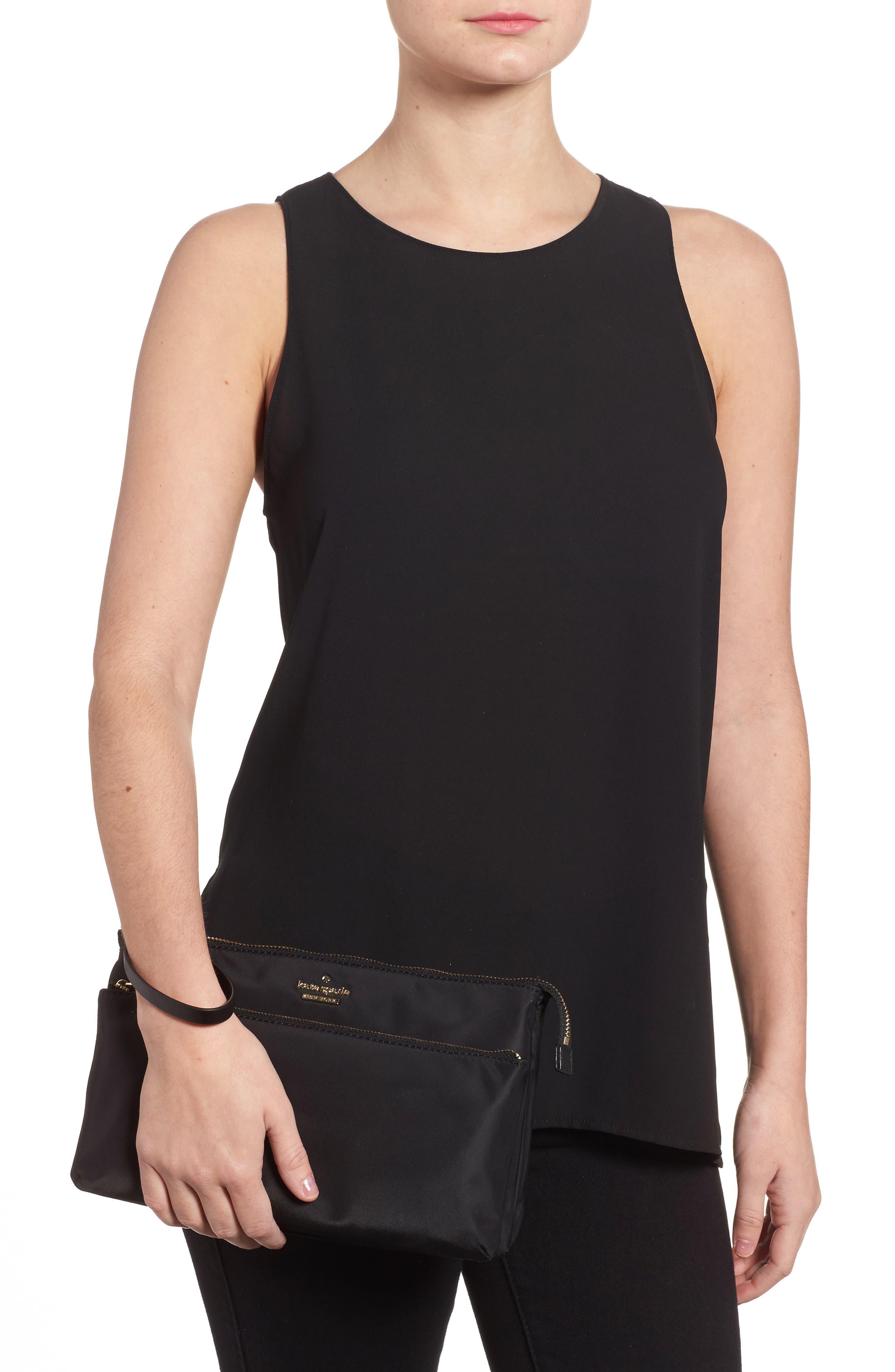 watson lane winnie baby nylon pouch with changing mat,                             Alternate thumbnail 2, color,                             Black