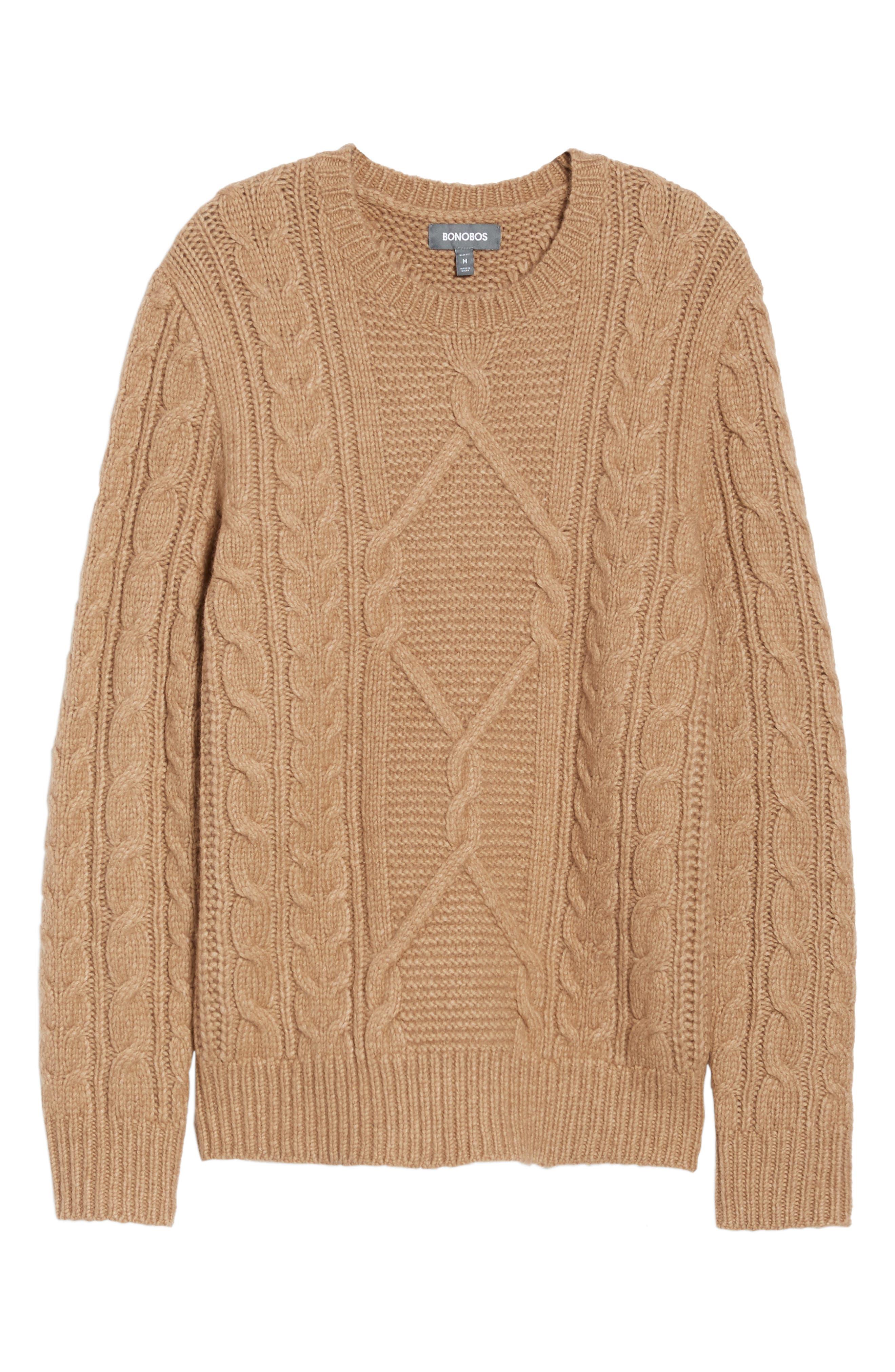 Cable Knit Crewneck Sweater,                             Alternate thumbnail 6, color,                             Camel