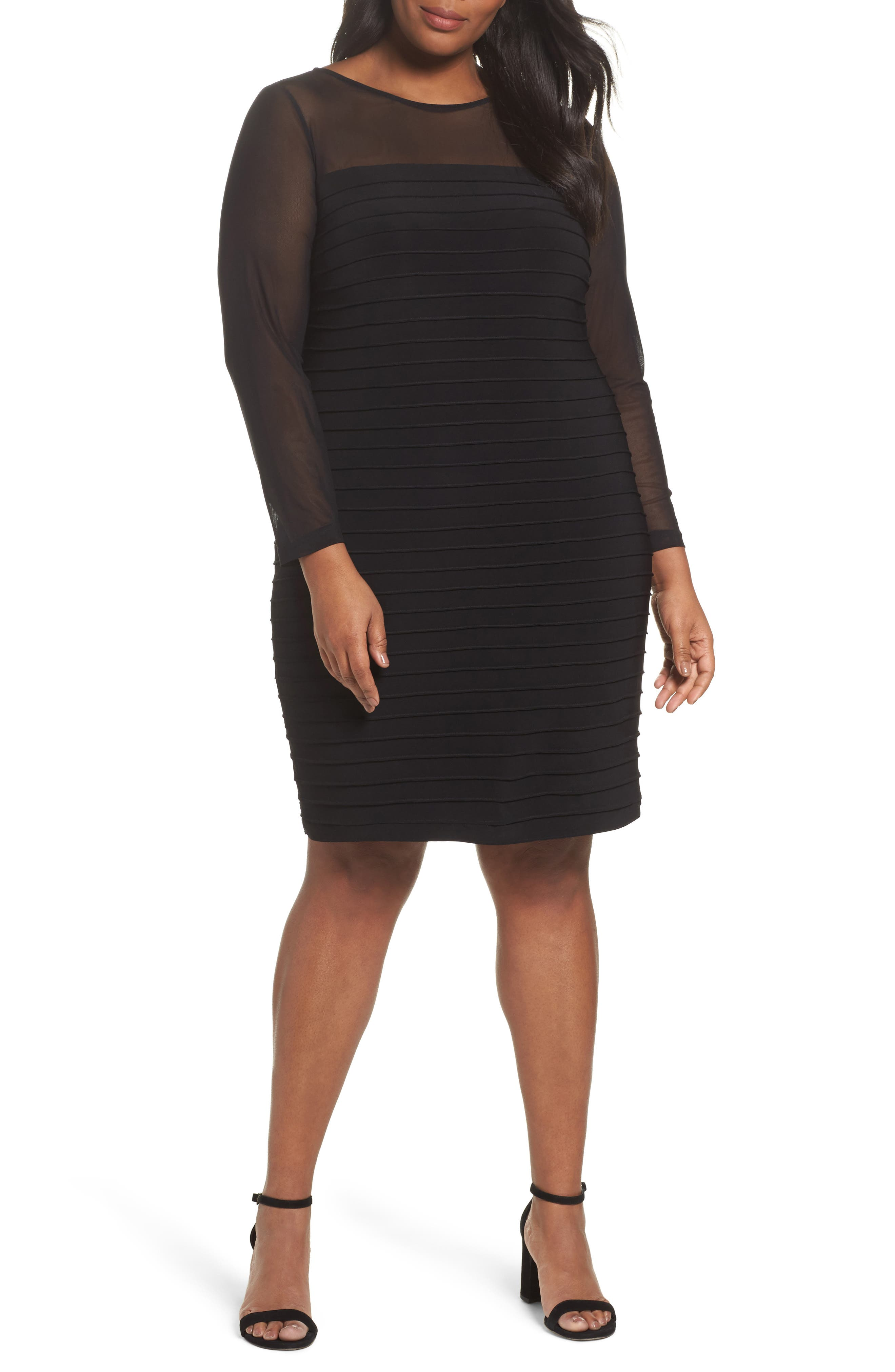 Pintuck Sheath Dress,                         Main,                         color, Black