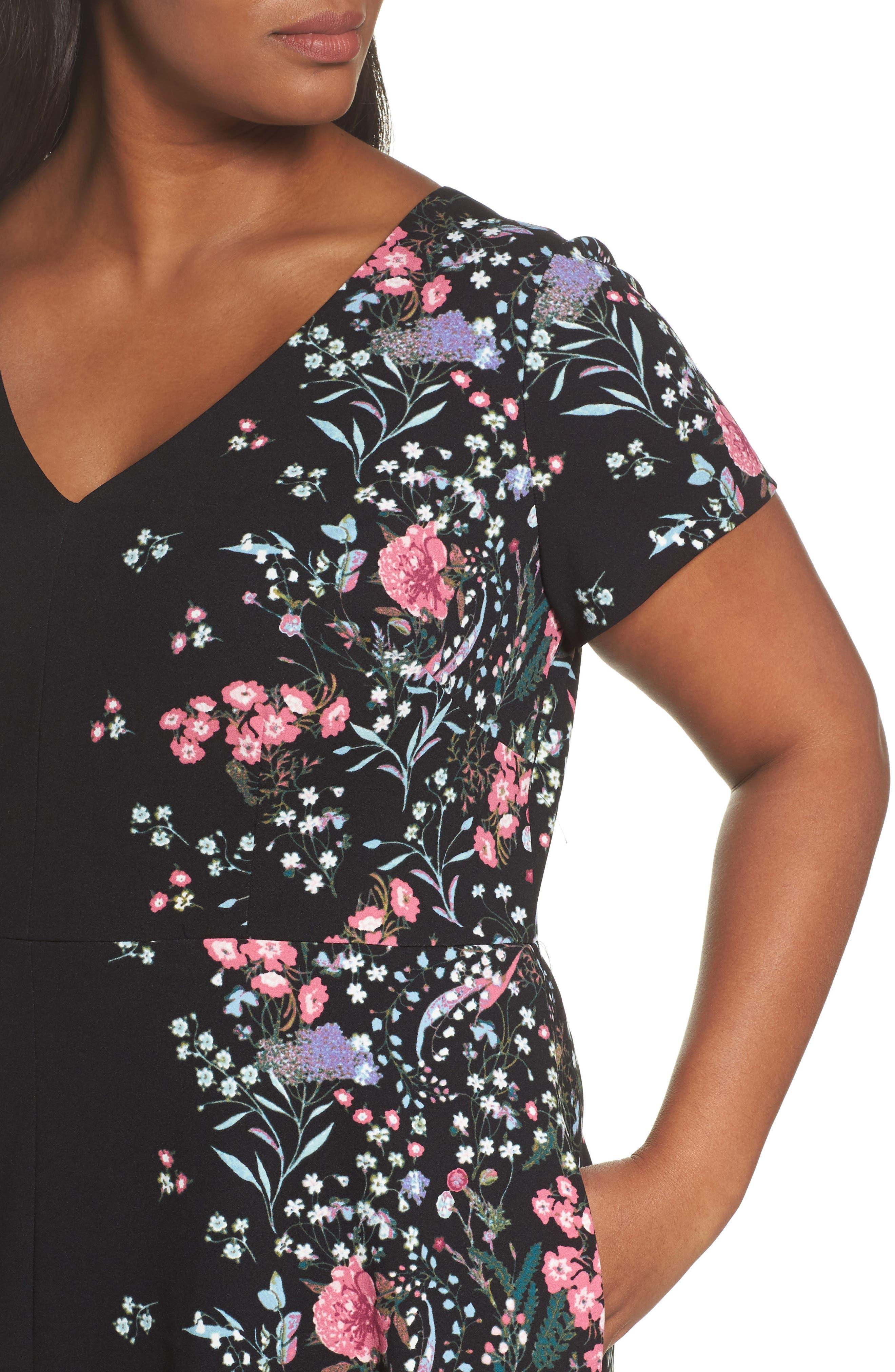 Print Scuba Knit Fit & Flare Dress,                             Alternate thumbnail 4, color,                             Black Multi