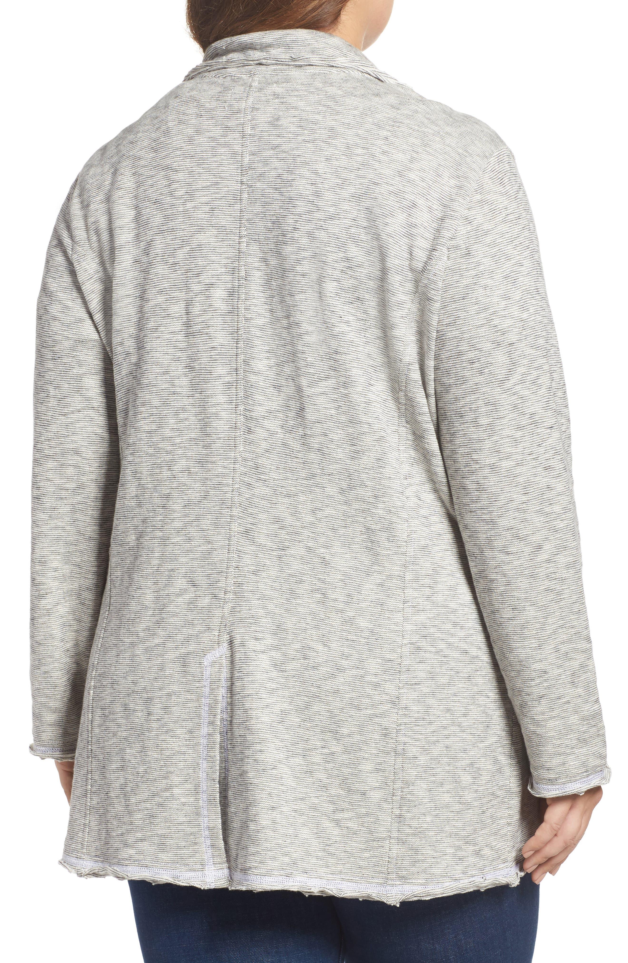 Knit Boyfriend Blazer,                             Alternate thumbnail 2, color,                             Black- Ivory Pattern