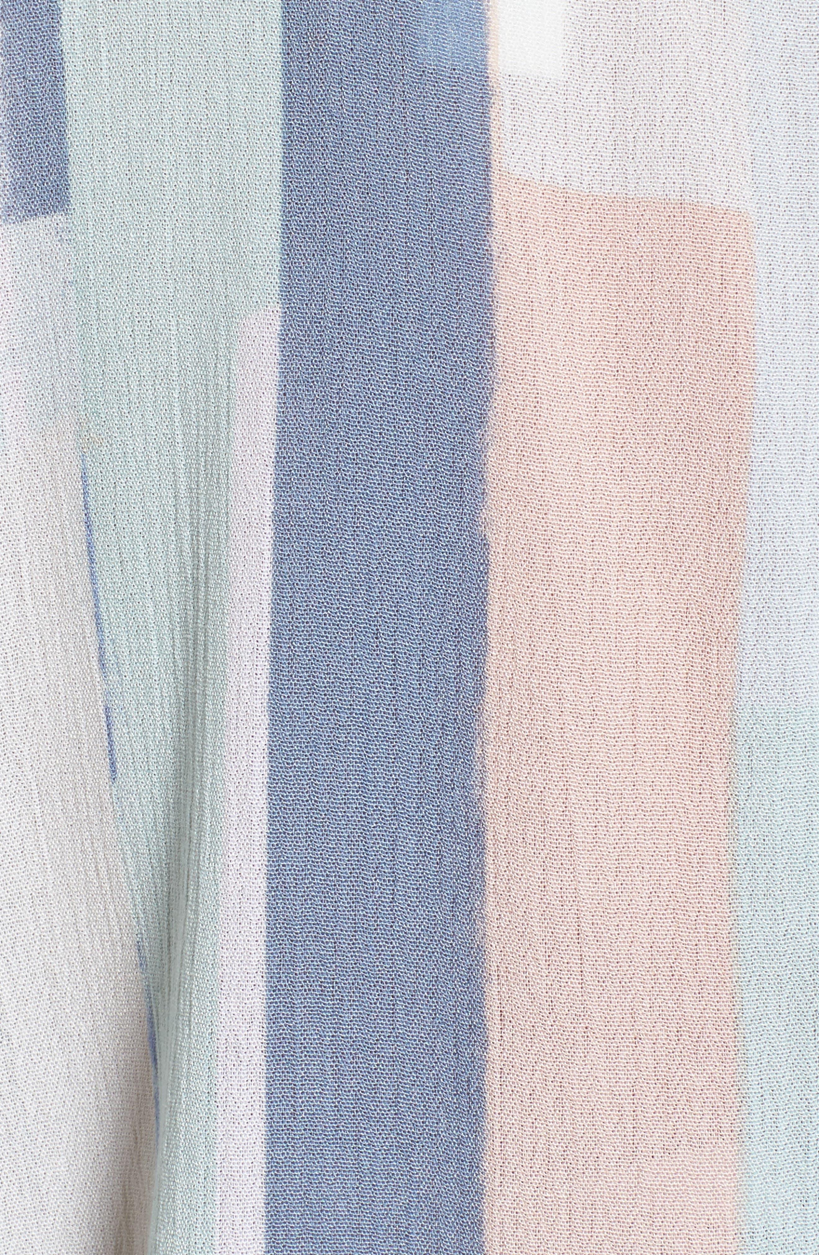 Printed Tie Sleeve Blouse,                             Alternate thumbnail 5, color,                             Teal- White Geo