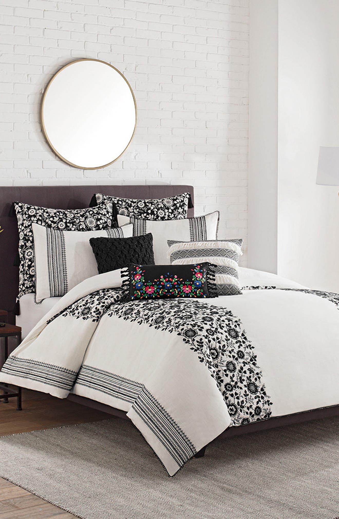 Folk Floral Duvet Cover,                         Main,                         color, White/ Black