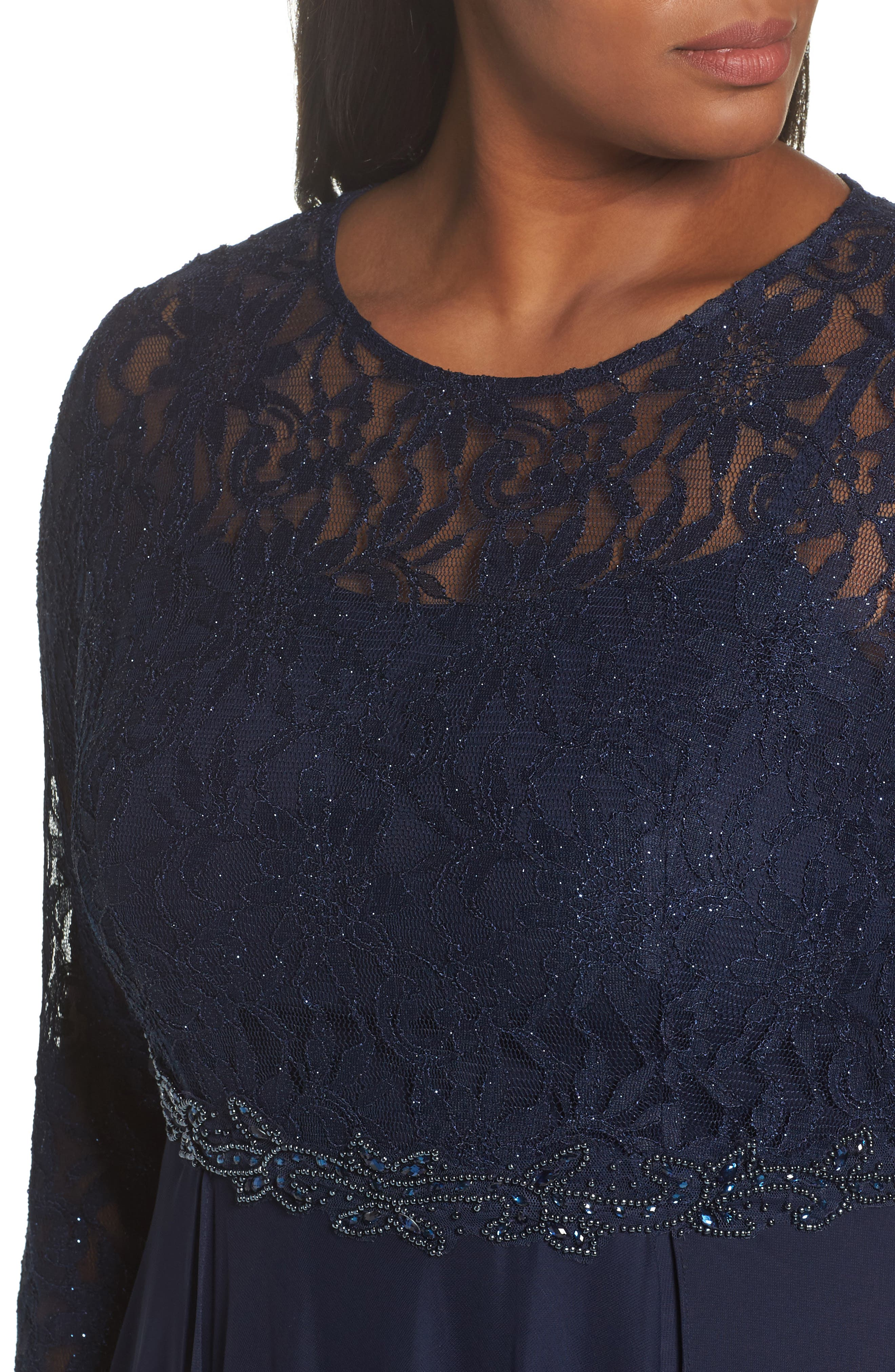 Alternate Image 4  - Decode 1.8 Lace & Mesh Gown (Plus Size)