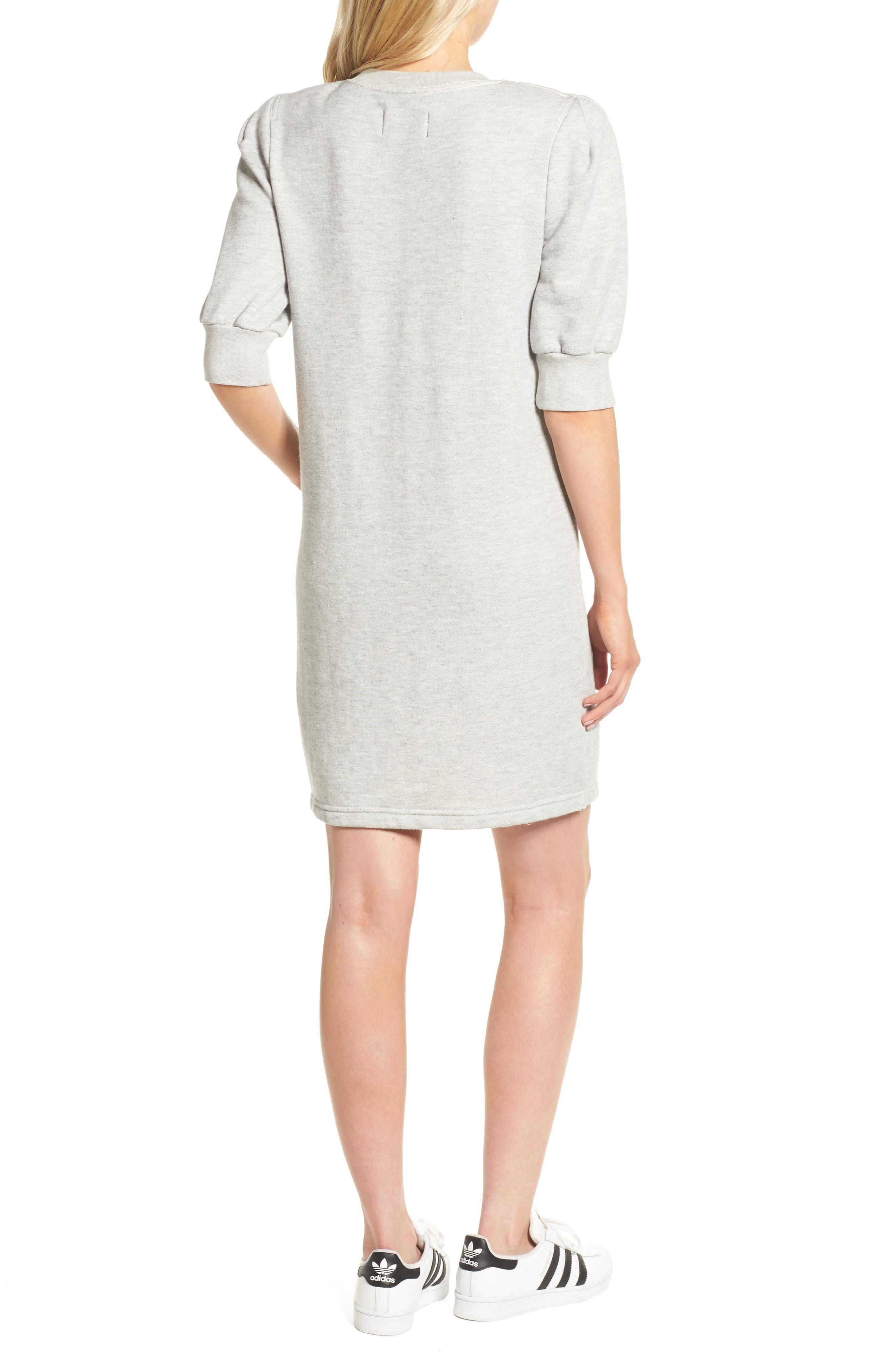 The Pleat Sweatshirt Dress,                             Alternate thumbnail 2, color,                             Light Heather Grey Terry