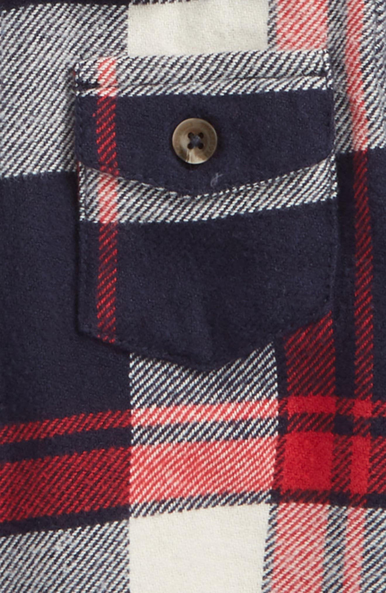Mixed Media Plaid Shirt,                             Alternate thumbnail 2, color,                             Red Chili- Navy Plaid