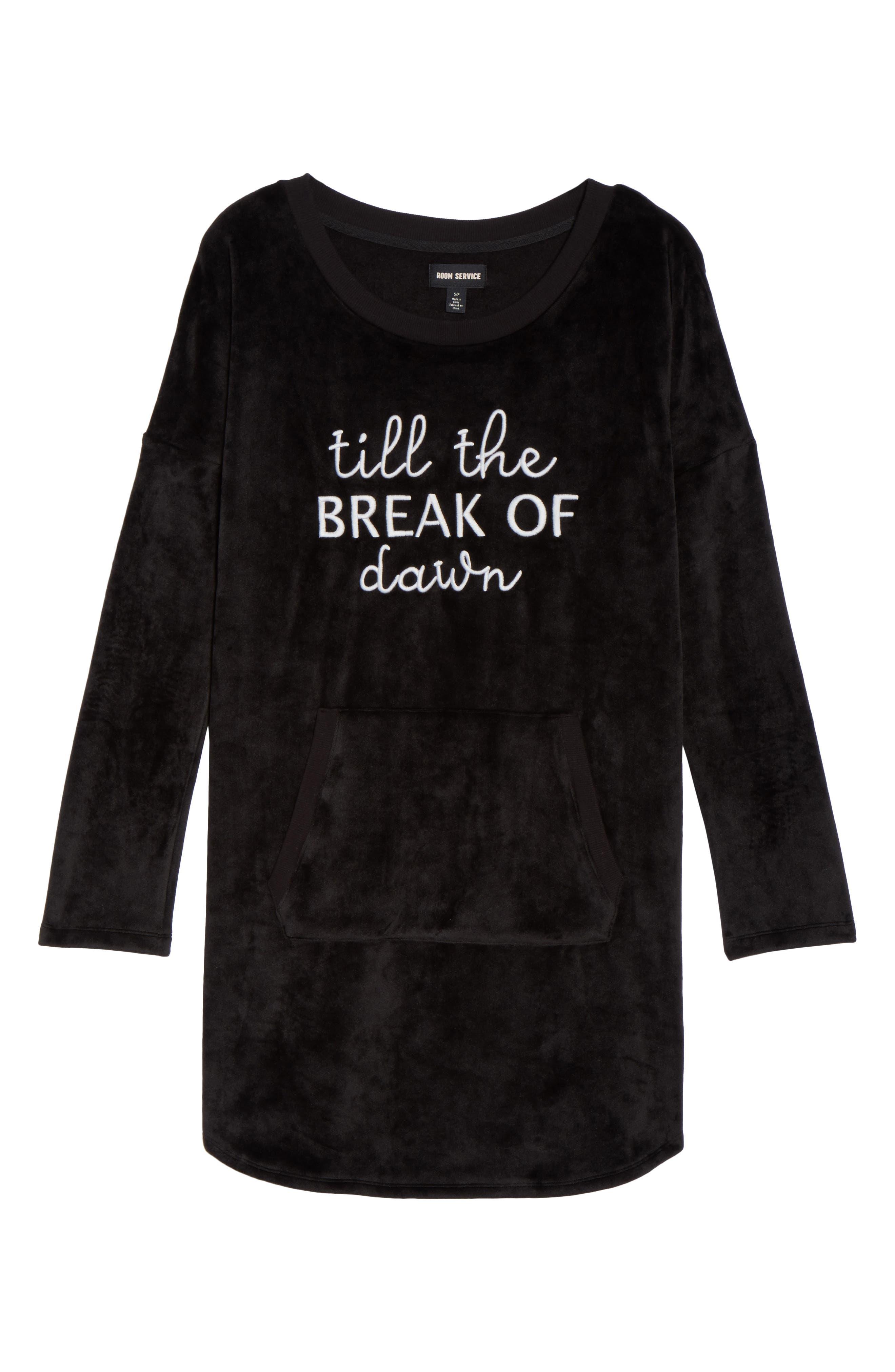 Luxury Plush Sleep Shirt,                             Alternate thumbnail 6, color,                             Black