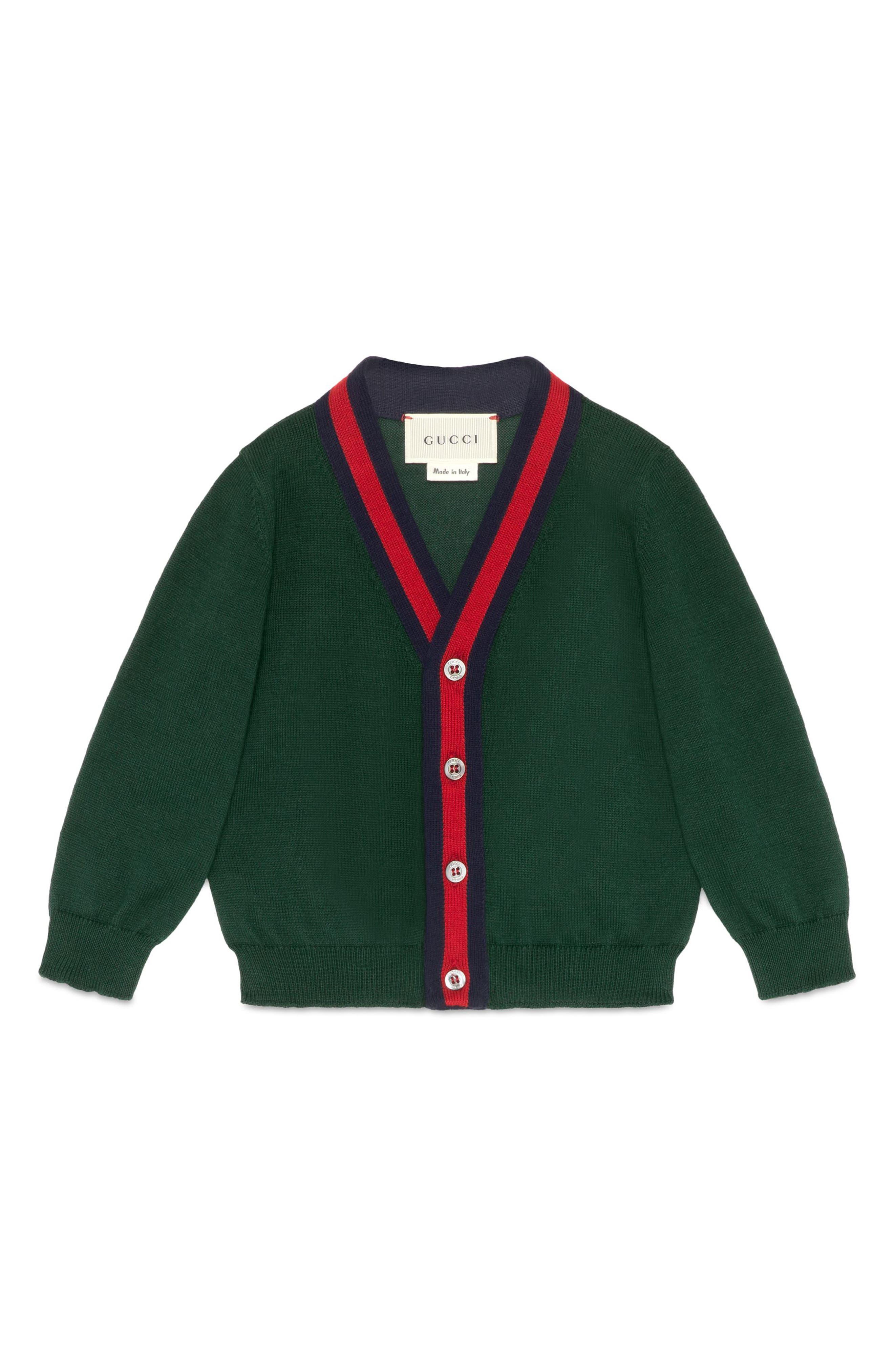 Knit Cotton Cardigan,                             Main thumbnail 1, color,                             Gucci Green