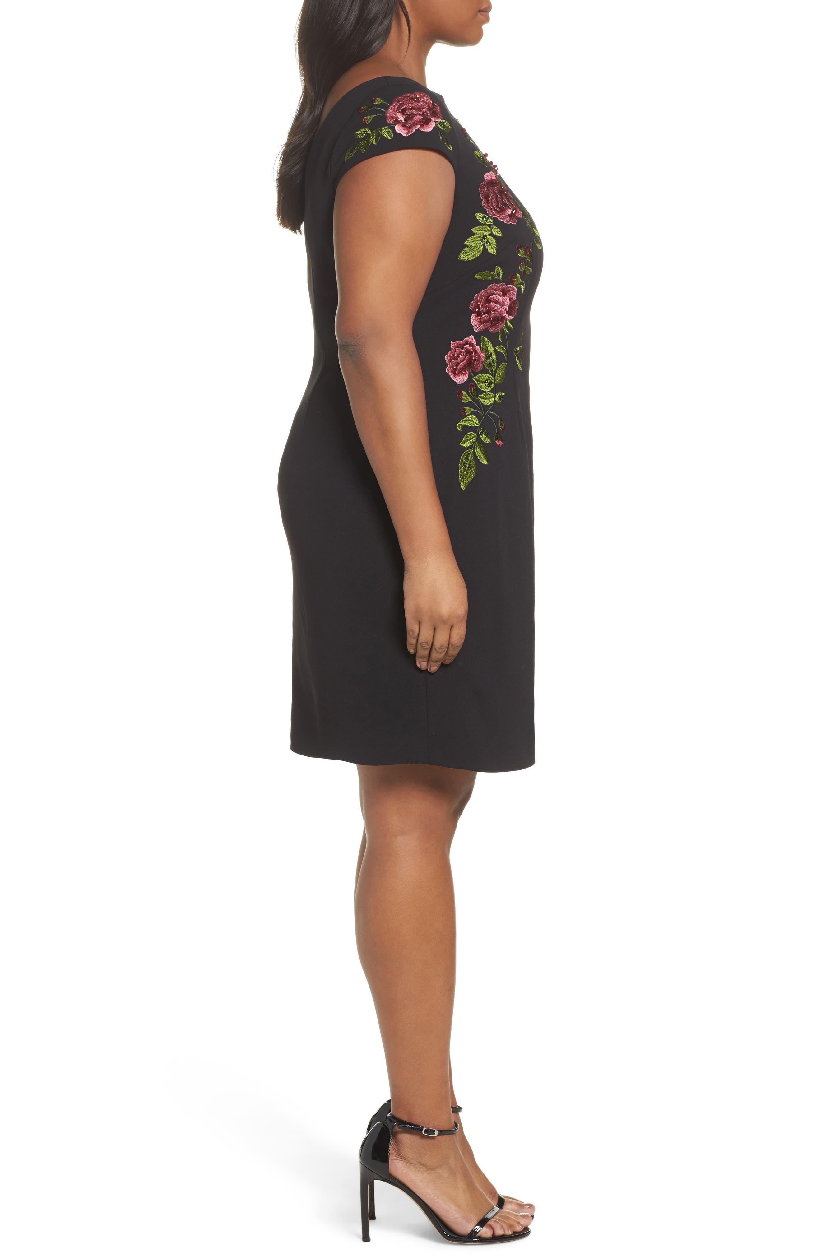 Flower Embroidered Crepe Sheath Dress,                             Alternate thumbnail 3, color,                             Black Multi