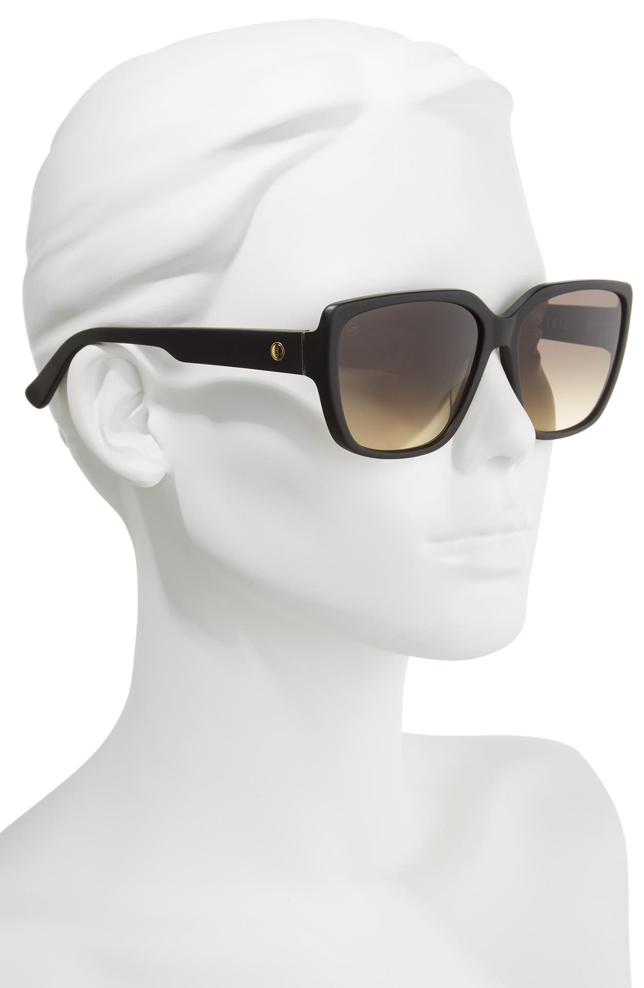 Honey Bee 60mm Mirrored Sunglasses,                             Alternate thumbnail 3, color,                             Matte Black/ Black Gradient