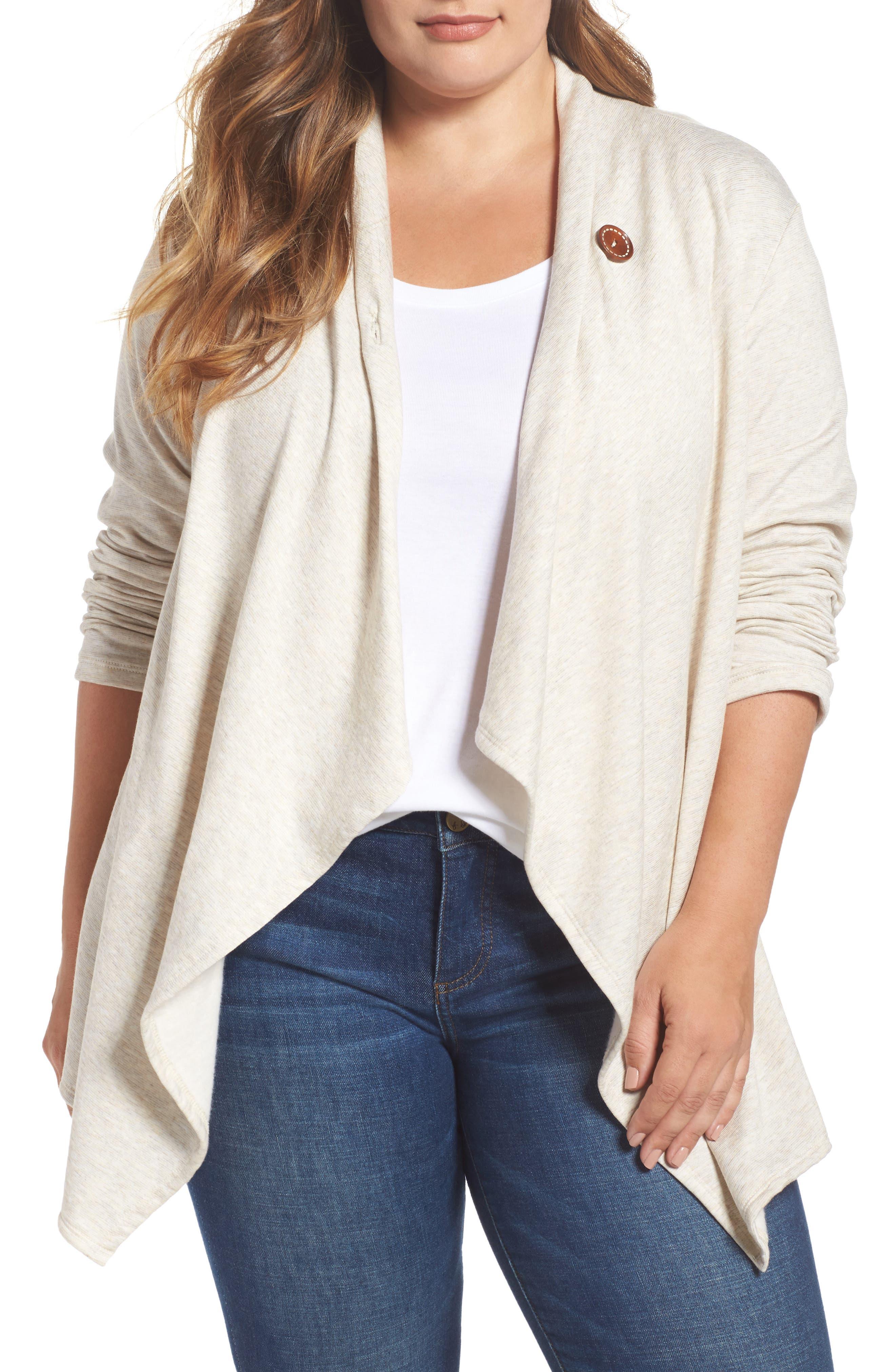 Main Image - Bobeau One-Button Fleece Cardigan (Plus Size)