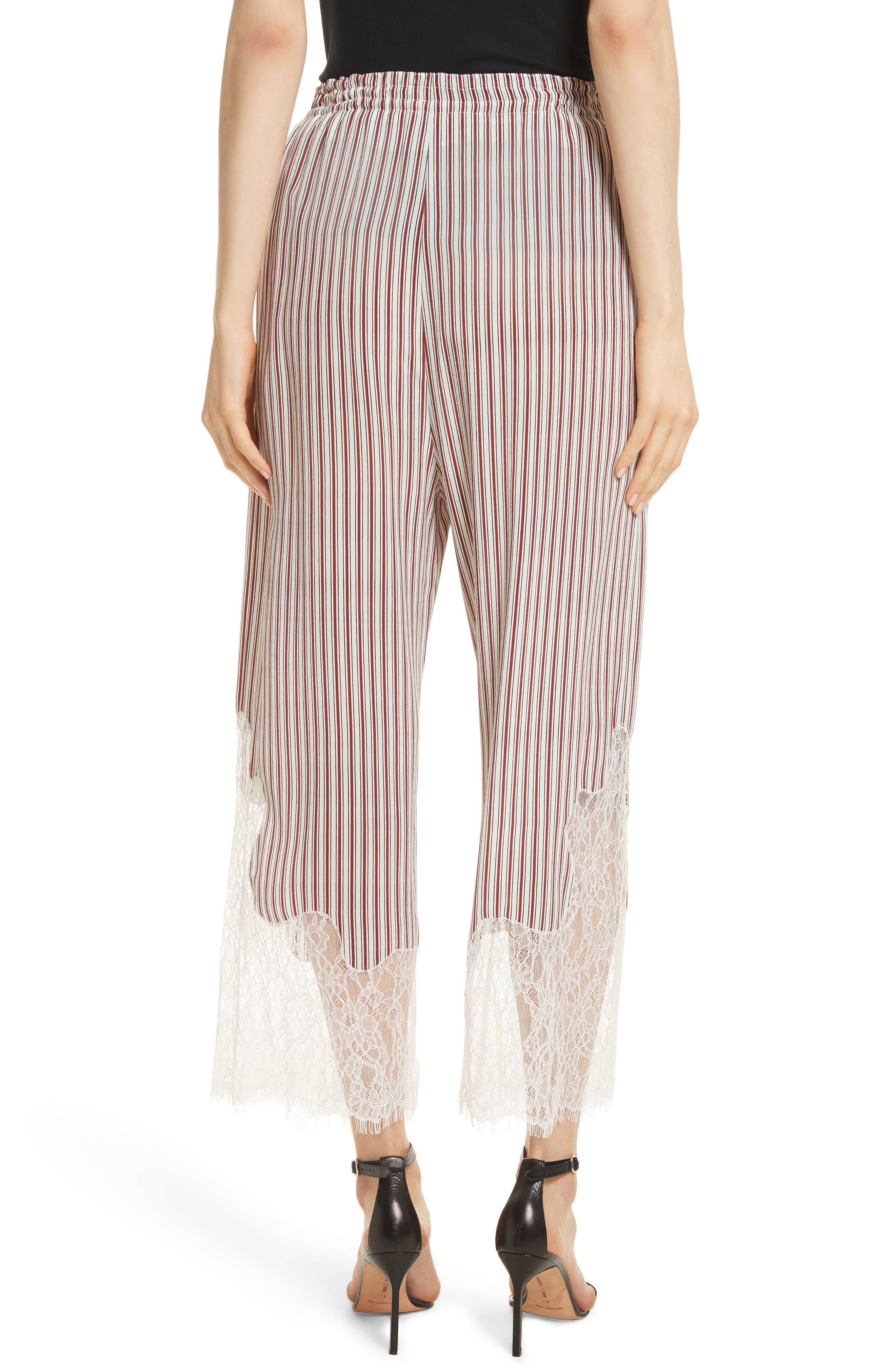 Lace Hem Stripe Pants,                             Alternate thumbnail 2, color,                             Crimson Barcode