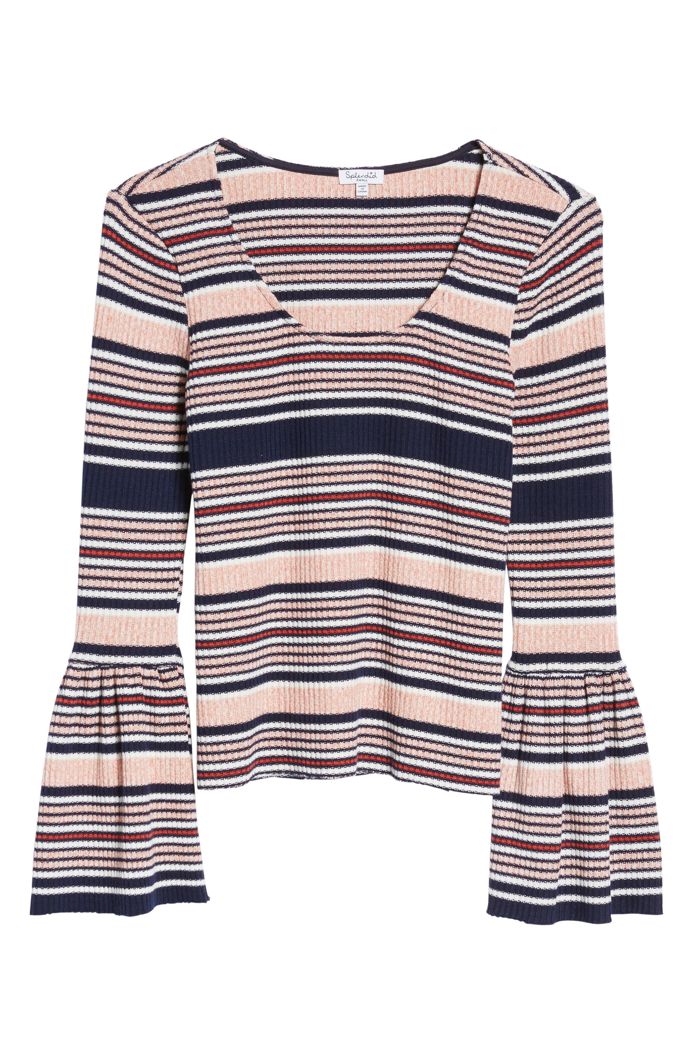 Stripe Bell Sleeve Tee,                             Alternate thumbnail 6, color,                             Multi